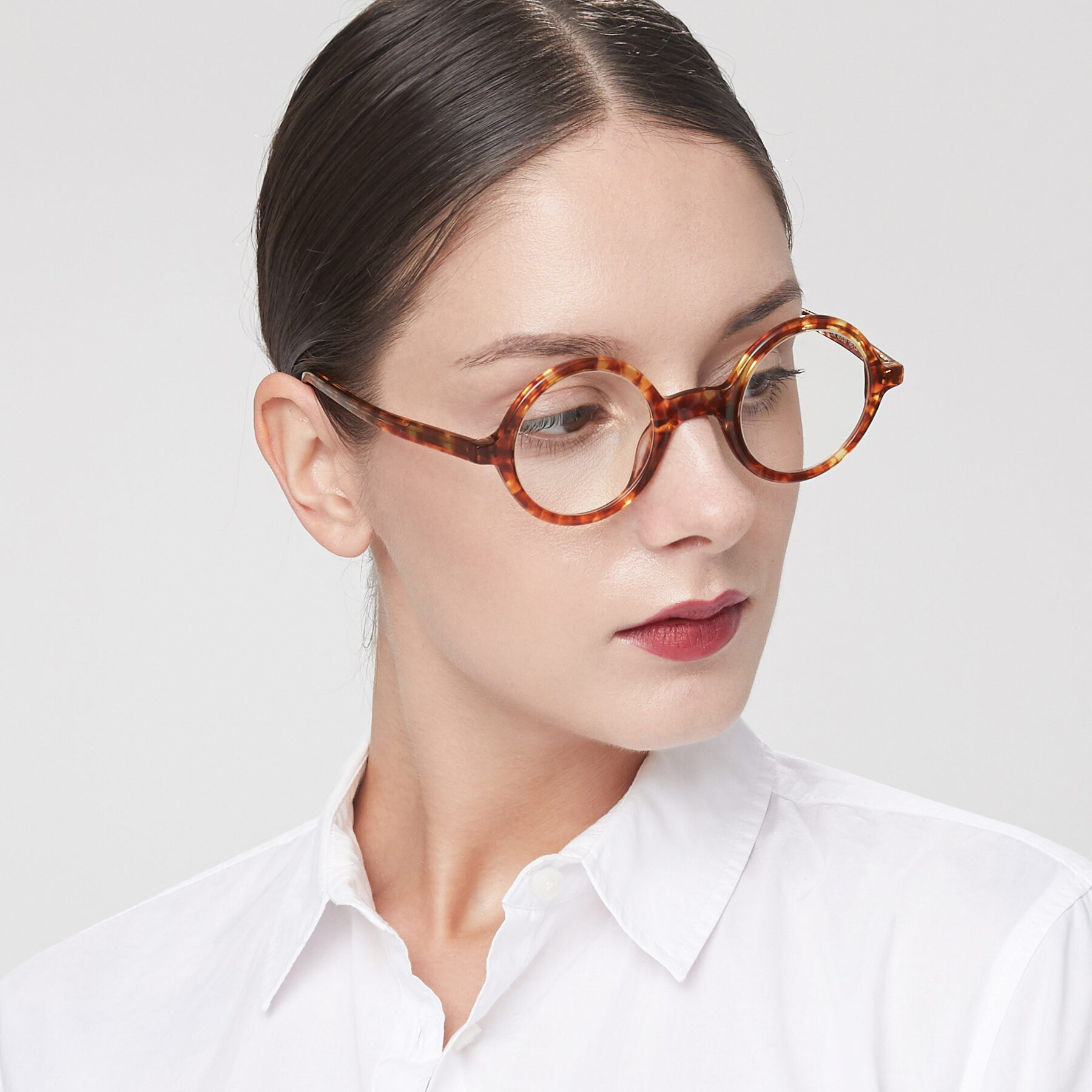 Women's lifestyle photography of Chaplin in Tortoise with Clear Blue Light Blocking Lenses