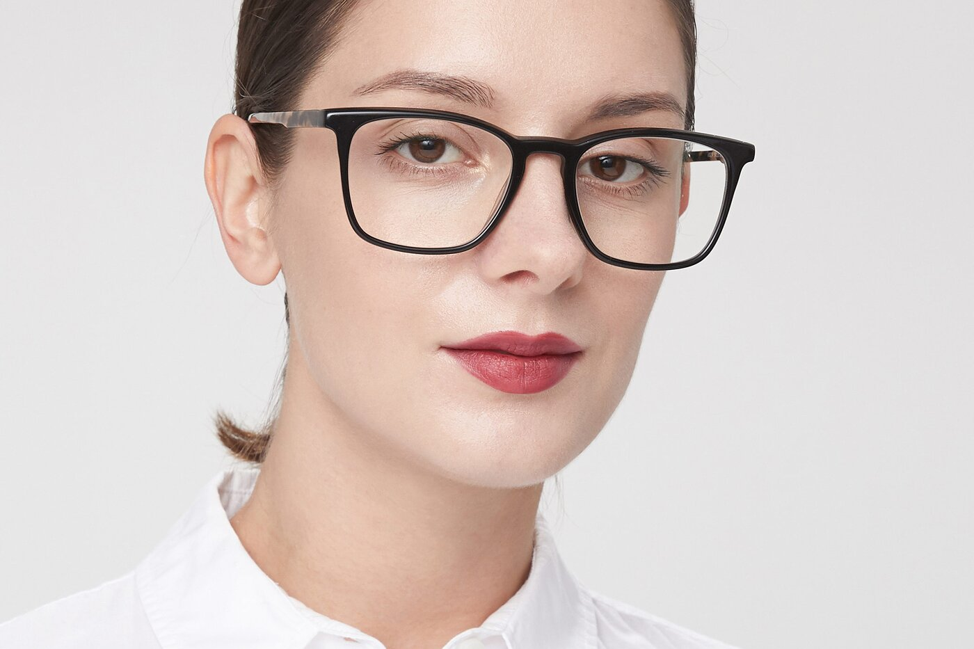 Black-Tortoise Keyhole Bridge Acetate Square Eyeglasses