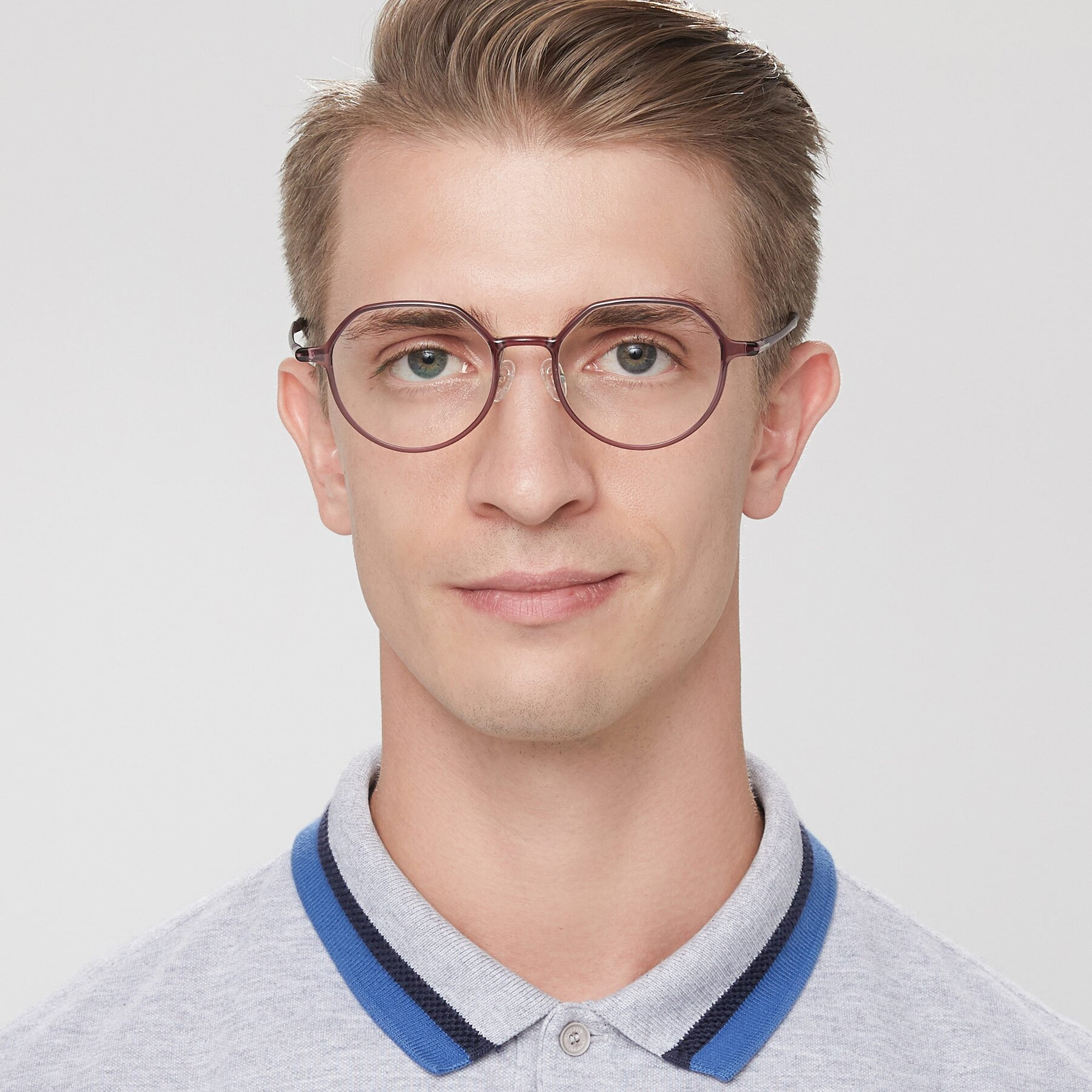 Men's lifestyle photography of IP7033 in Purple with Clear Eyeglass Lenses