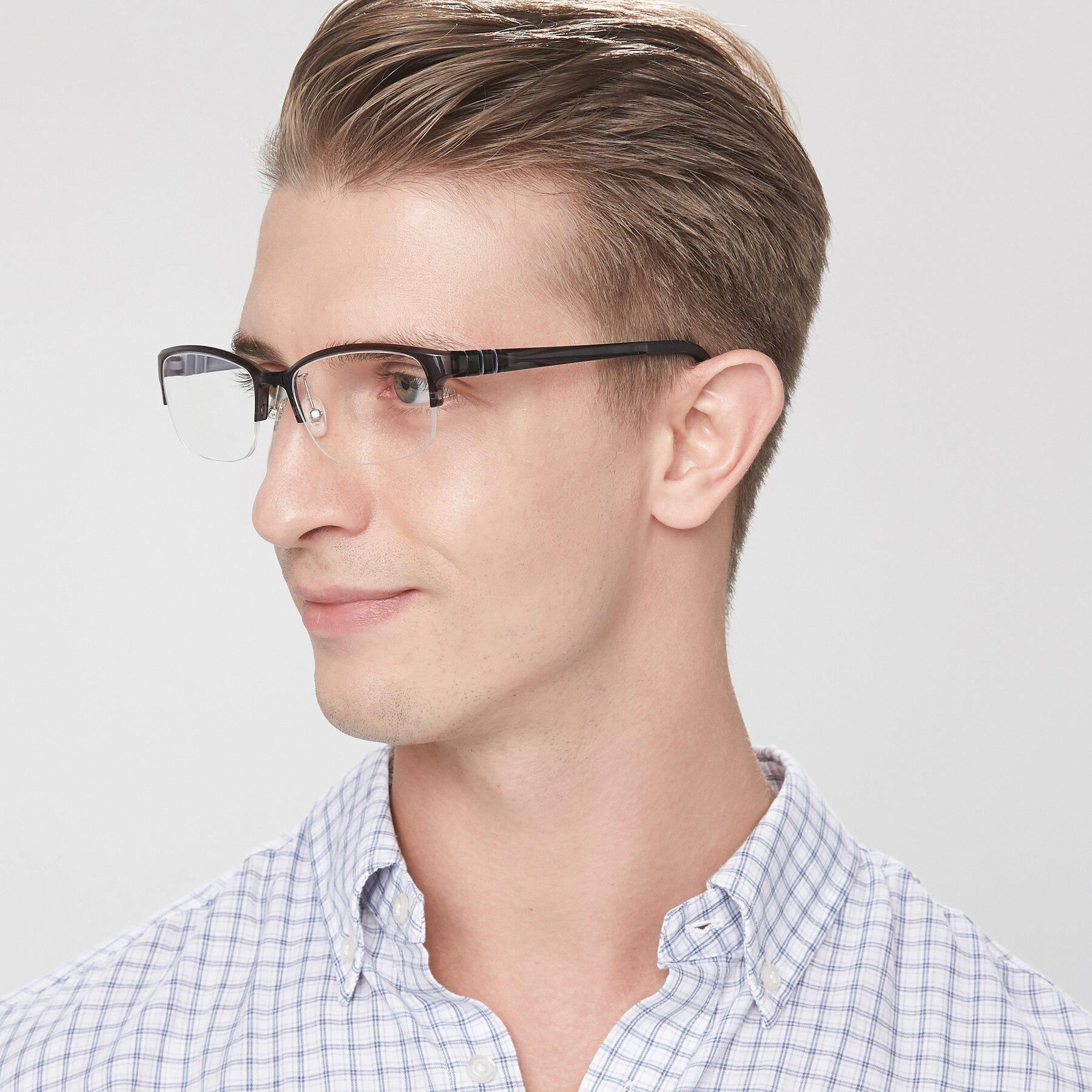 Men's lifestyle photography of S7043 in Gray with Clear Blue Light Blocking Lenses