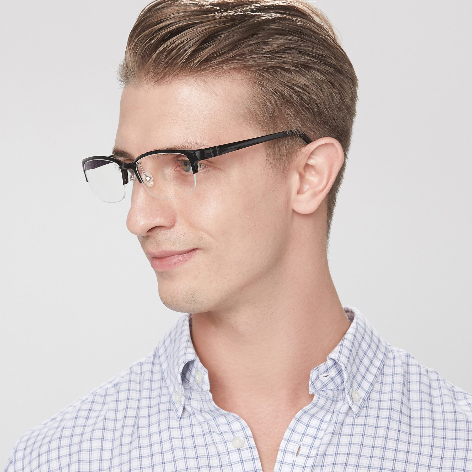 Men's lifestyle photography of S7043 in Black with Clear Eyeglass Lenses
