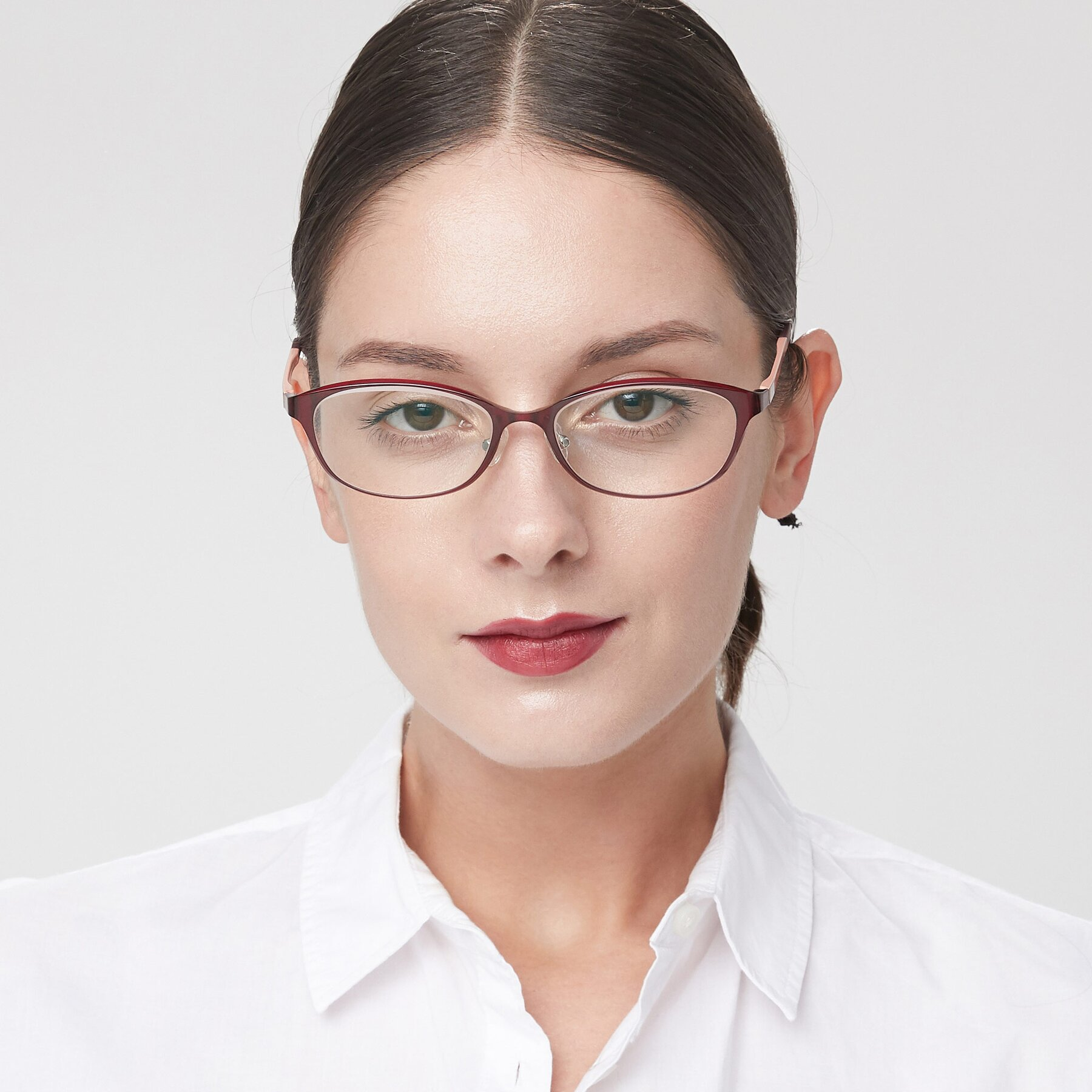 Women's lifestyle photography of S7040 in Burgendy with Clear Eyeglass Lenses