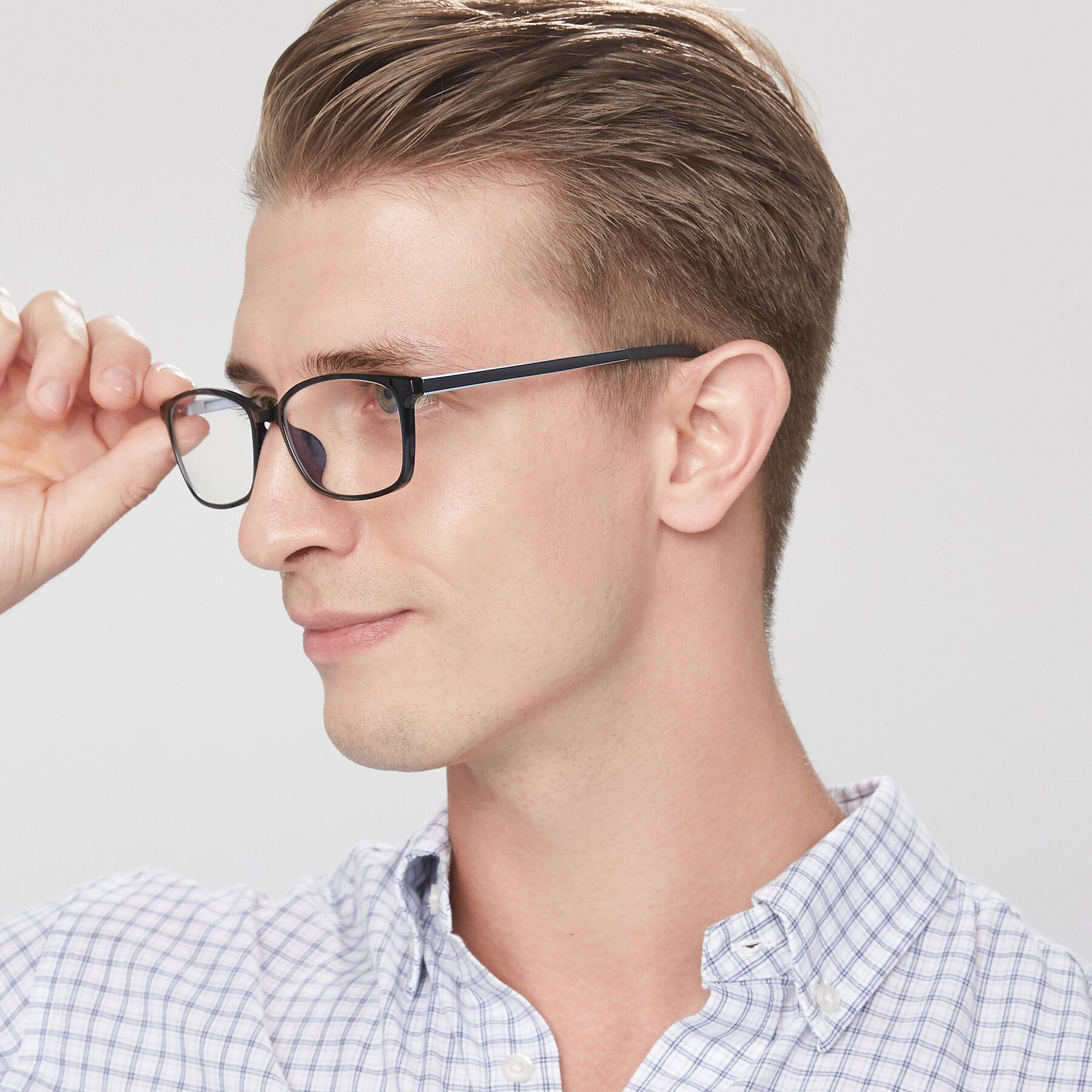 Men's lifestyle photography of S7036 in Black-Blue with Clear Eyeglass Lenses