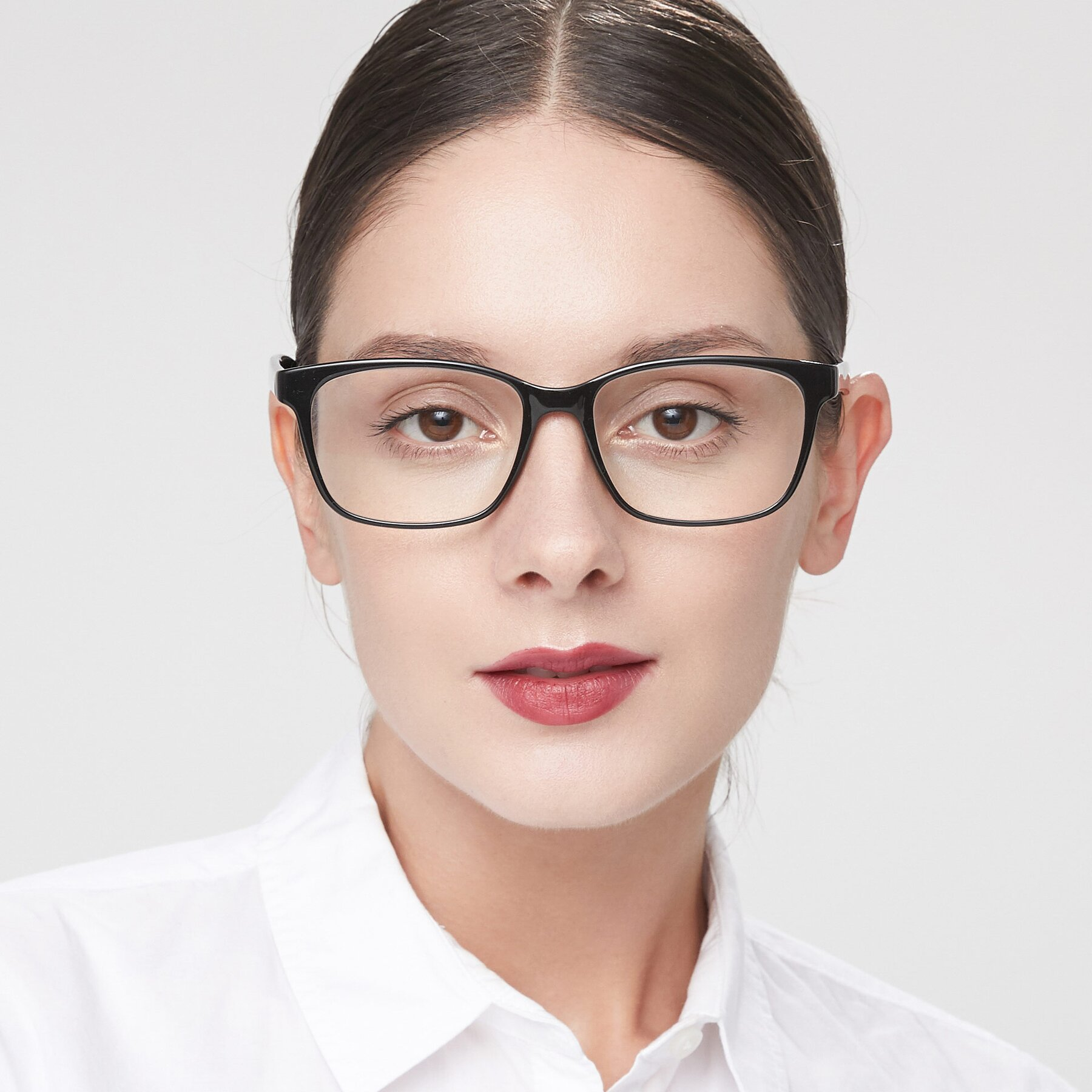 Women's lifestyle photography of 8206 in Black with Clear Blue Light Blocking Lenses