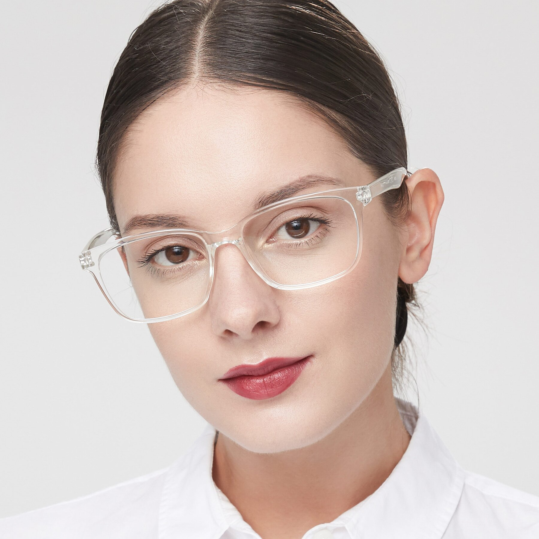 Women's lifestyle photography of 8206 in Clear with Clear Eyeglass Lenses