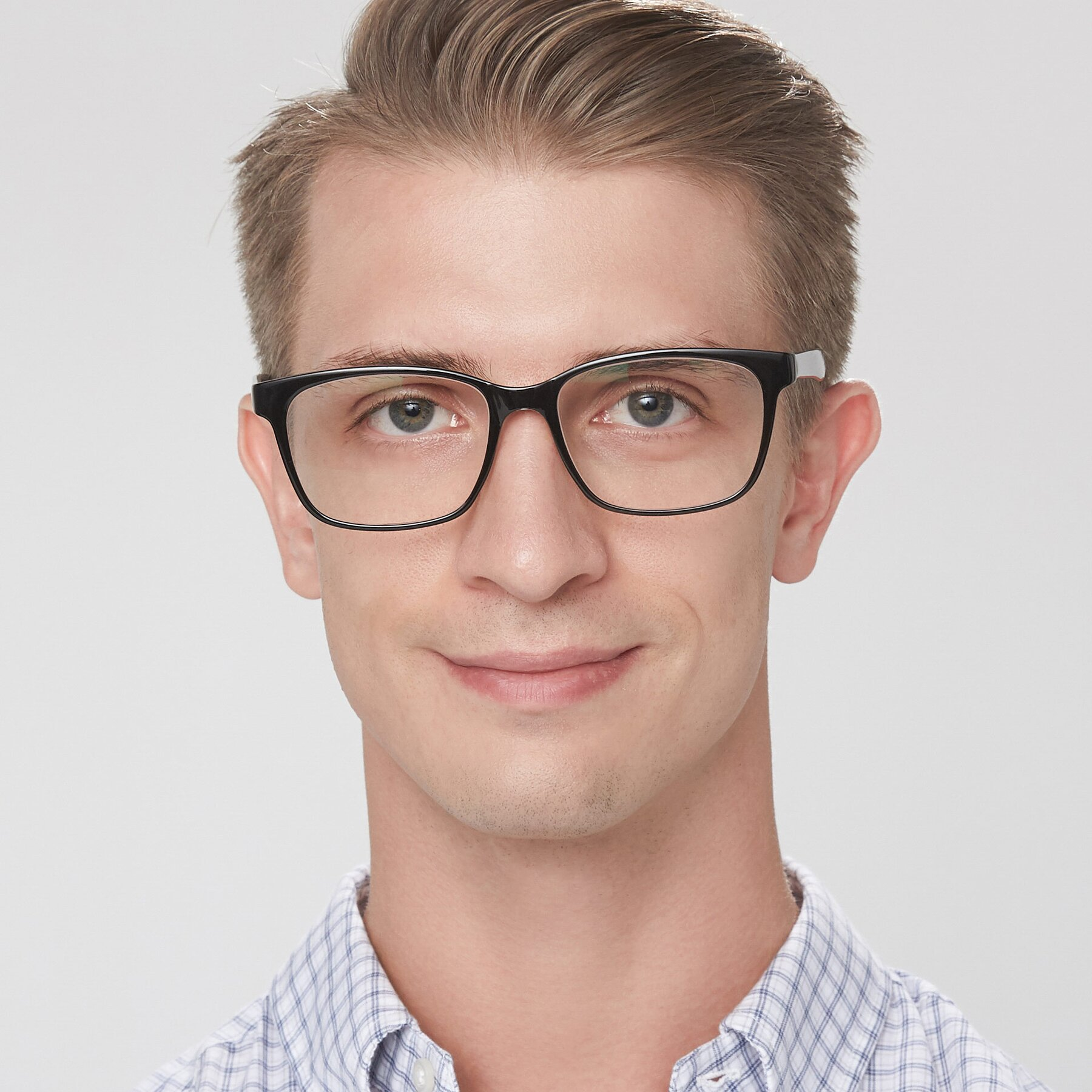 Men's lifestyle photography of 8206 in Black-Clear with Clear Eyeglass Lenses