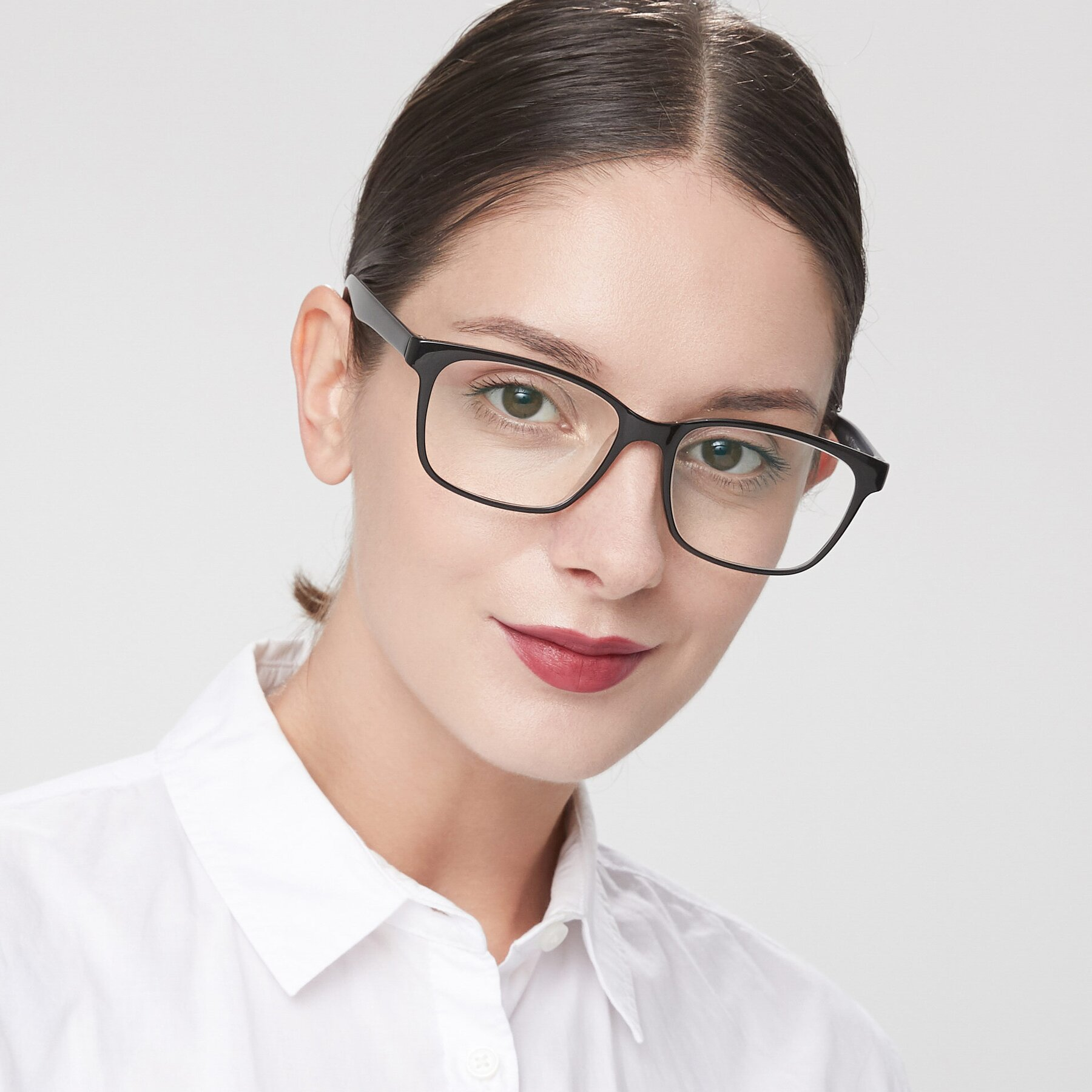Women's lifestyle photography of 8206 in Black-Clear with Clear Eyeglass Lenses