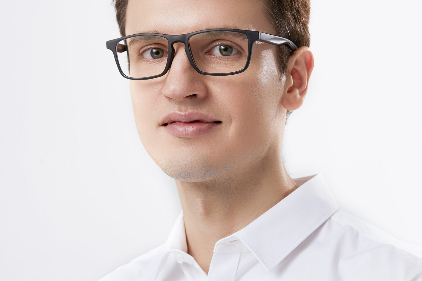 Matte Black Wrap Around Keyhole Bridge TR90 Eyeglasses