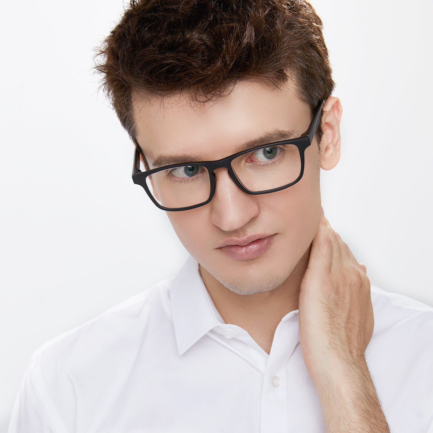 Men's lifestyle photography of Passion in Matte Black with Clear Eyeglass Lenses