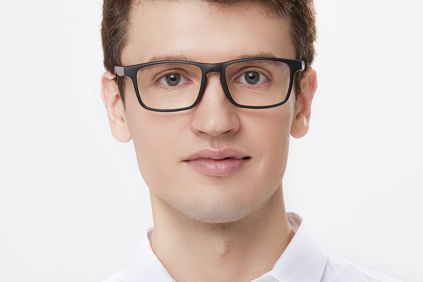 Matte Black-Gray Wrap Around Keyhole Bridge TR90 Eyeglasses