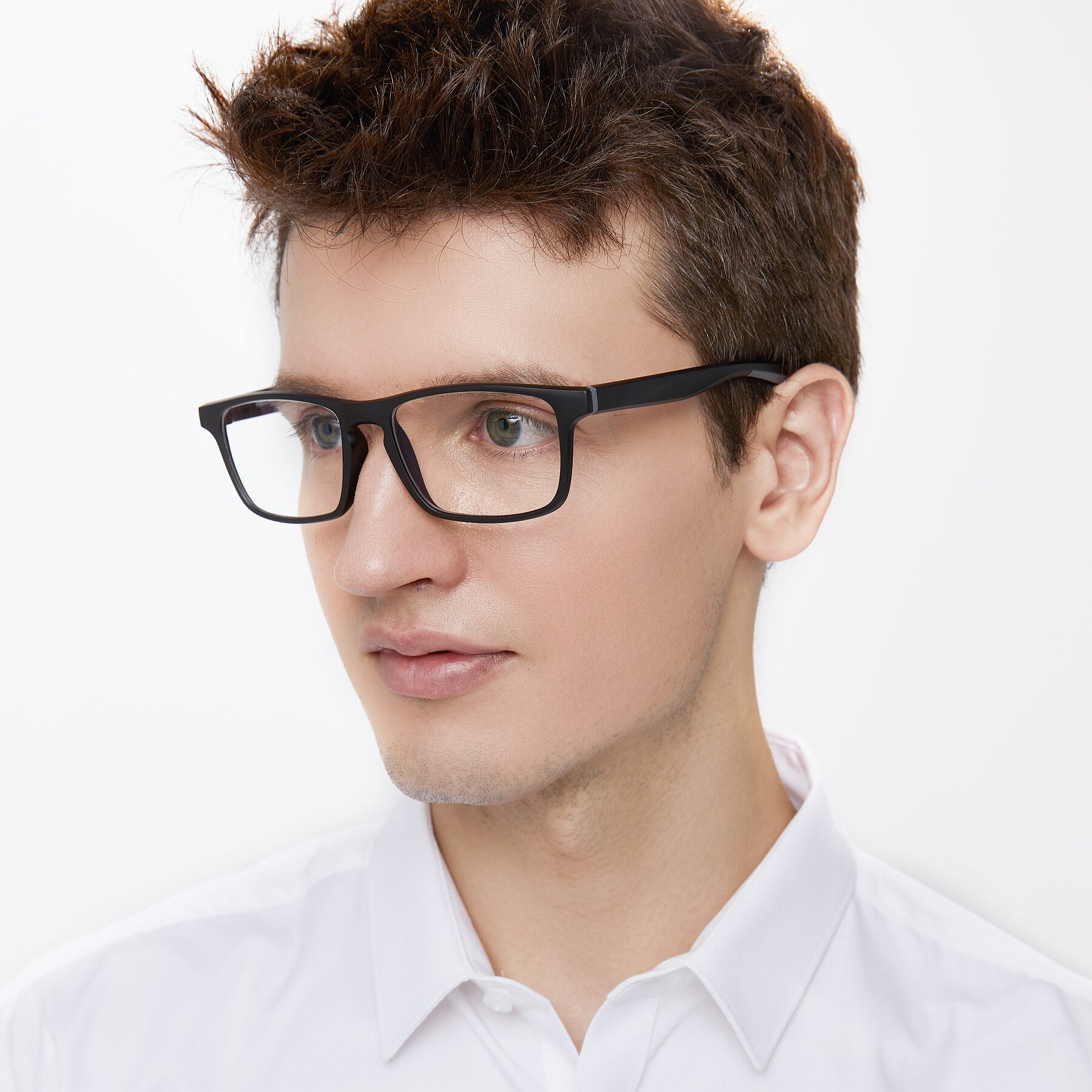 Men's lifestyle photography of Passion in Matte Black-Gray with Clear Blue Light Blocking Lenses