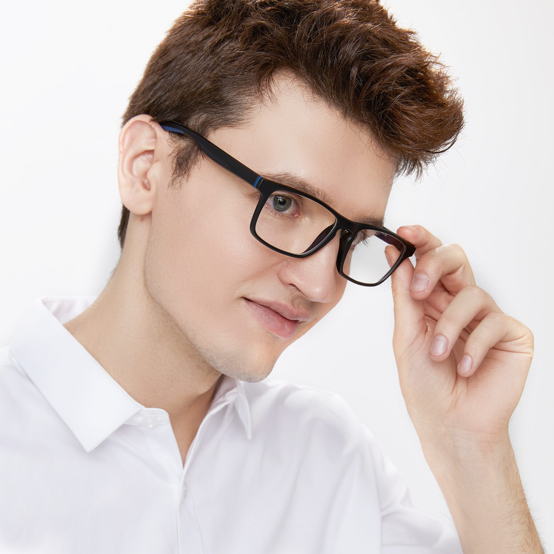 Men's lifestyle photography of Passion in Matte Black-Blue with Clear Blue Light Blocking Lenses