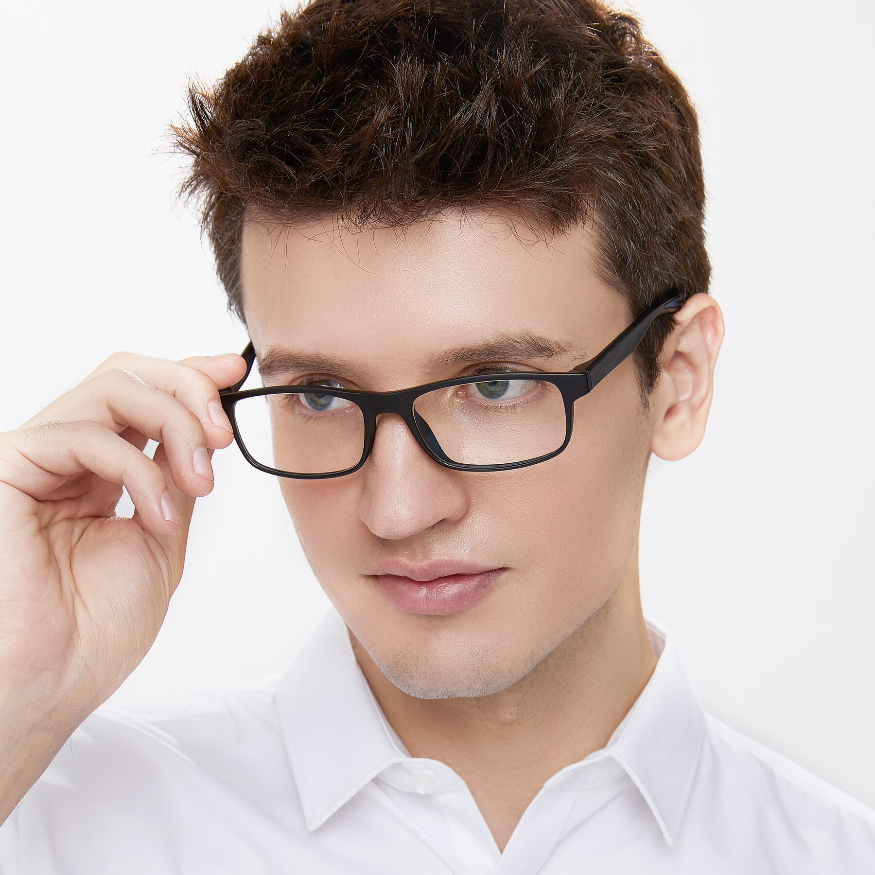 Men's lifestyle photography of Bill in Matte Black with Clear Eyeglass Lenses