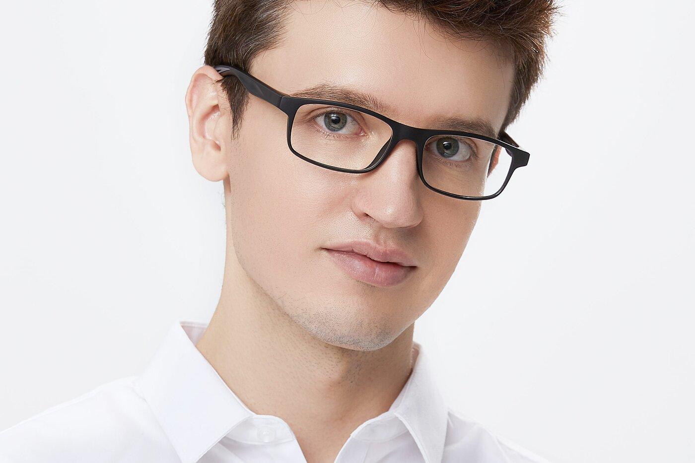 Matte Black-Gray Classic TR90 Rectangle Eyeglasses