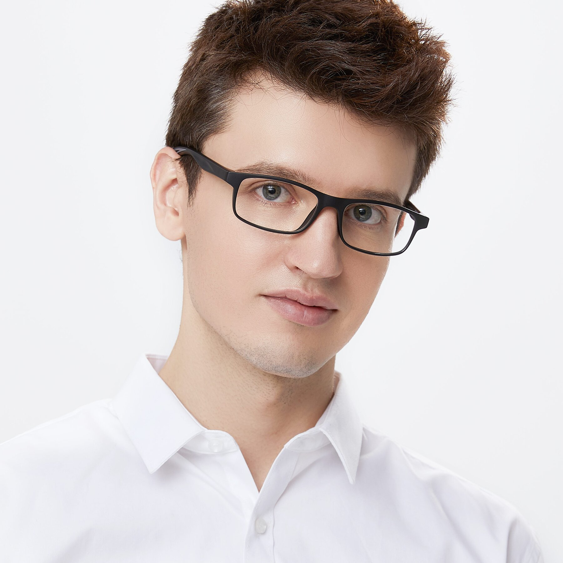 Men's lifestyle photography of Bill in Matte Black-Gray with Clear Eyeglass Lenses