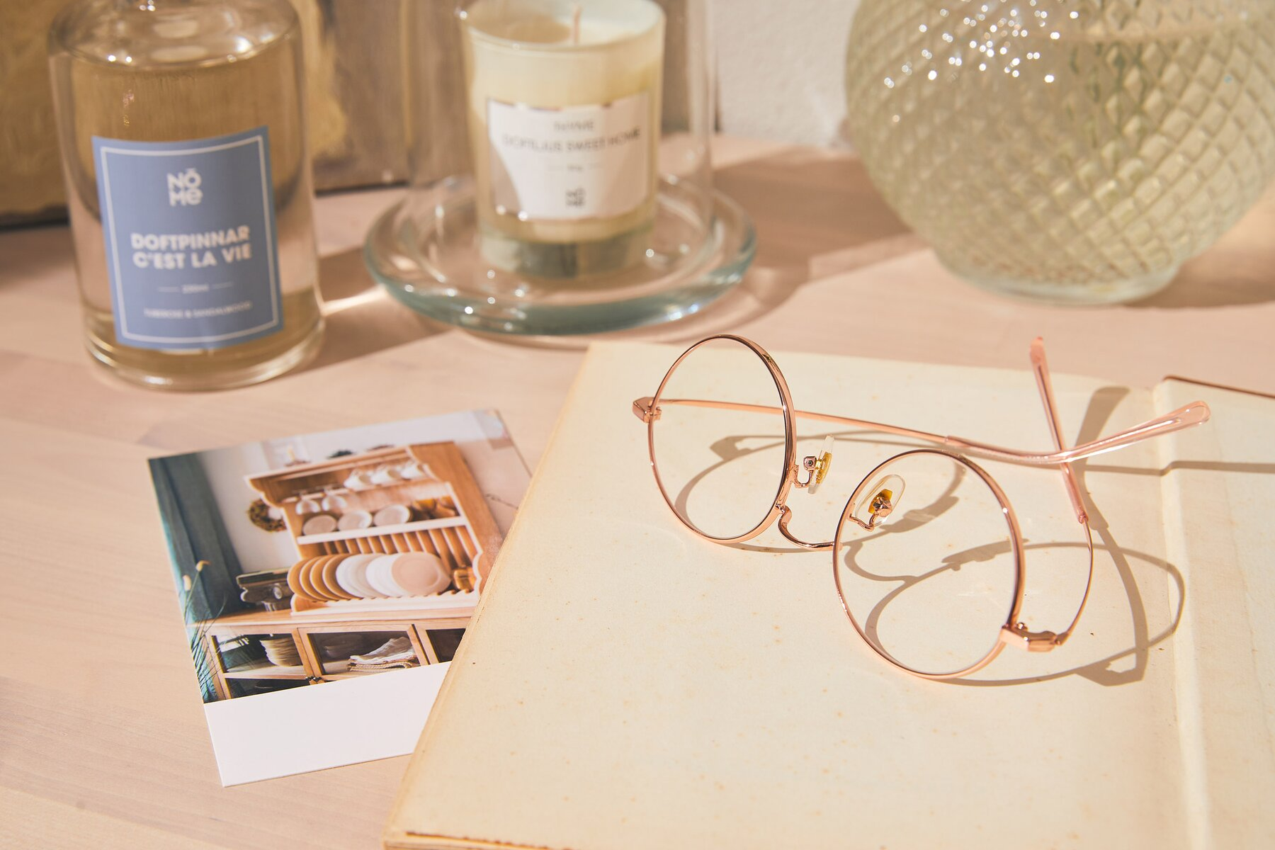 Lifestyle photography #2 of Moore in Rose Gold with Clear Blue Light Blocking Lenses