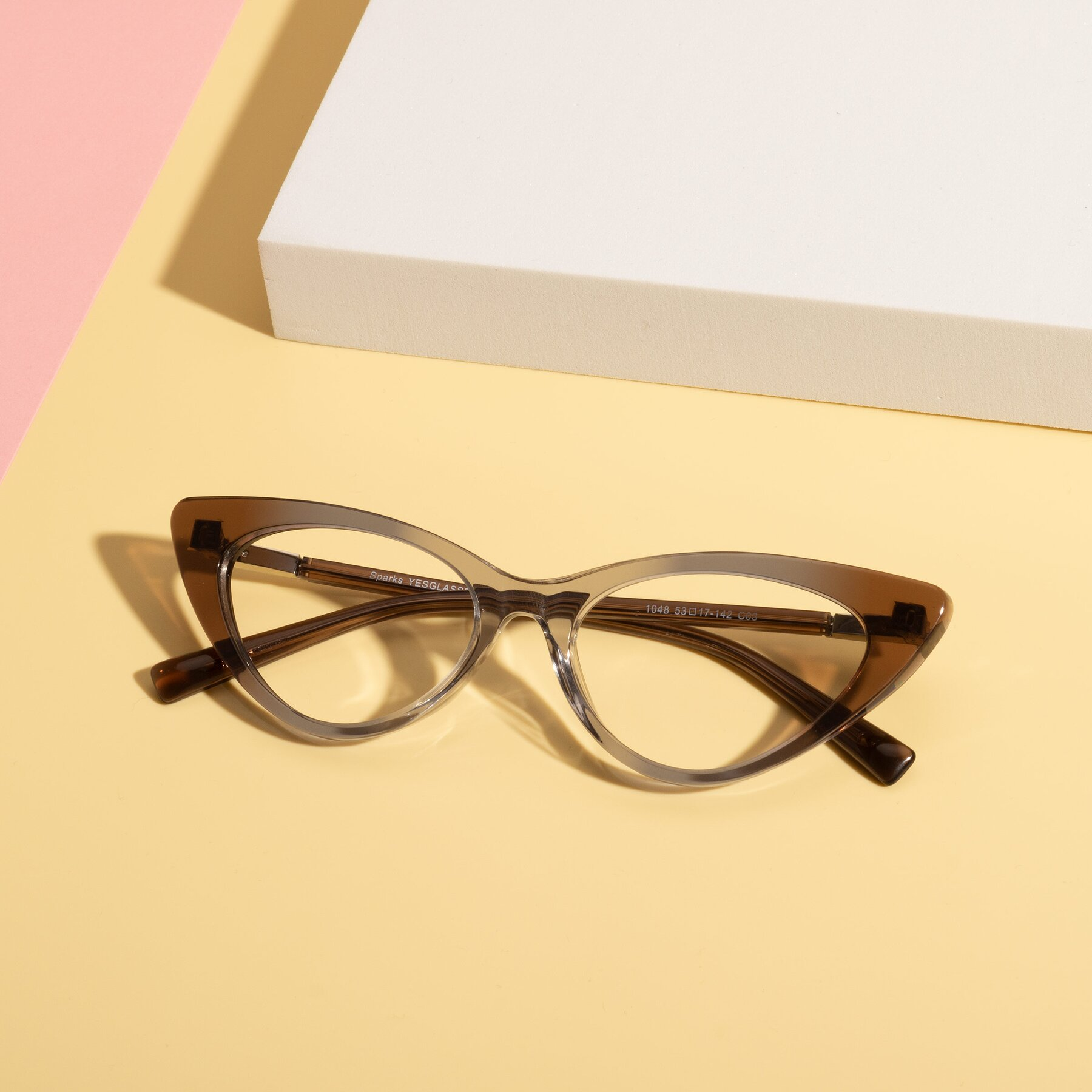 Lifestyle photography #1 of Sparks in Transparent Gradient Brown with Clear Eyeglass Lenses