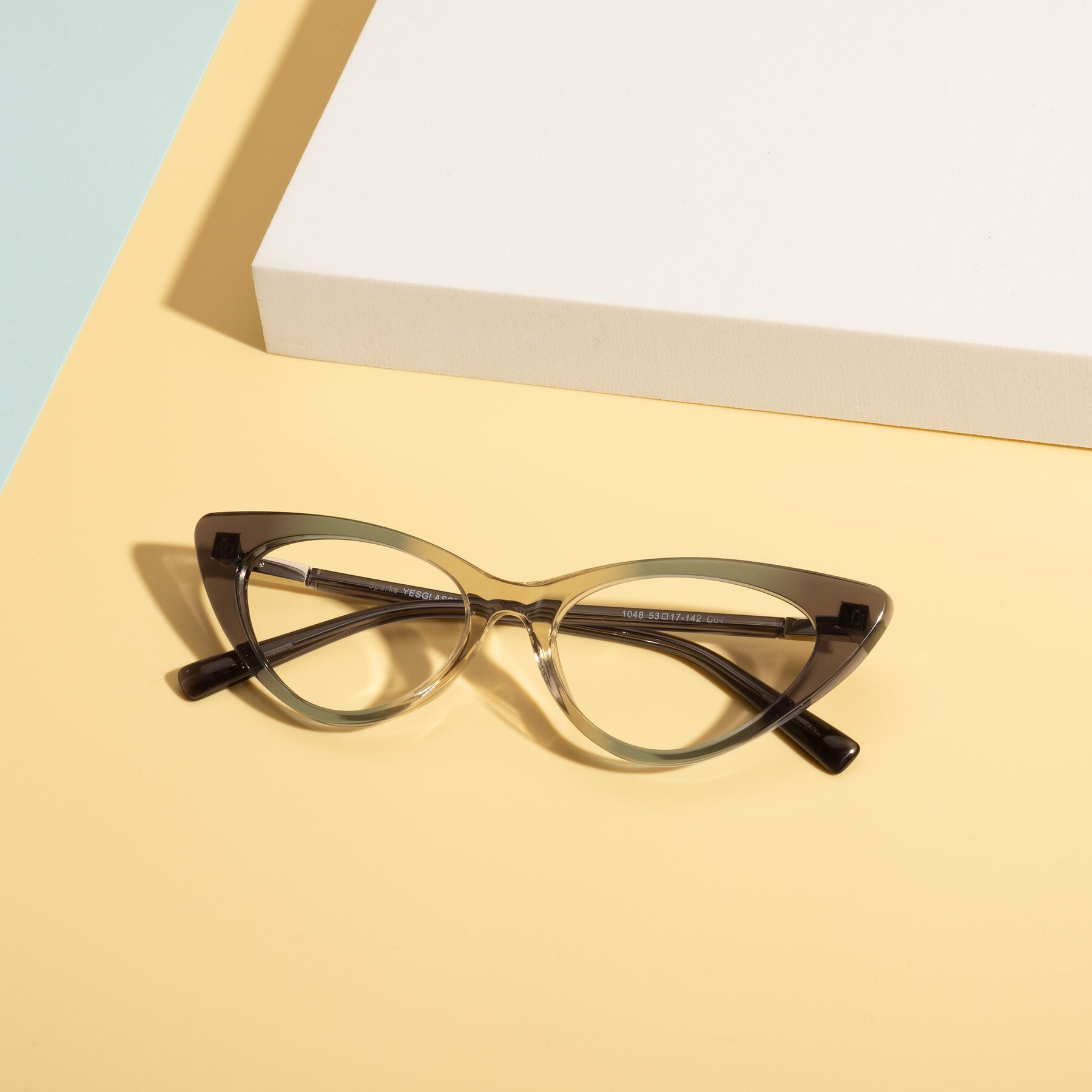 Lifestyle photography #1 of Sparks in Transparent Gradient Cyan with Clear Eyeglass Lenses