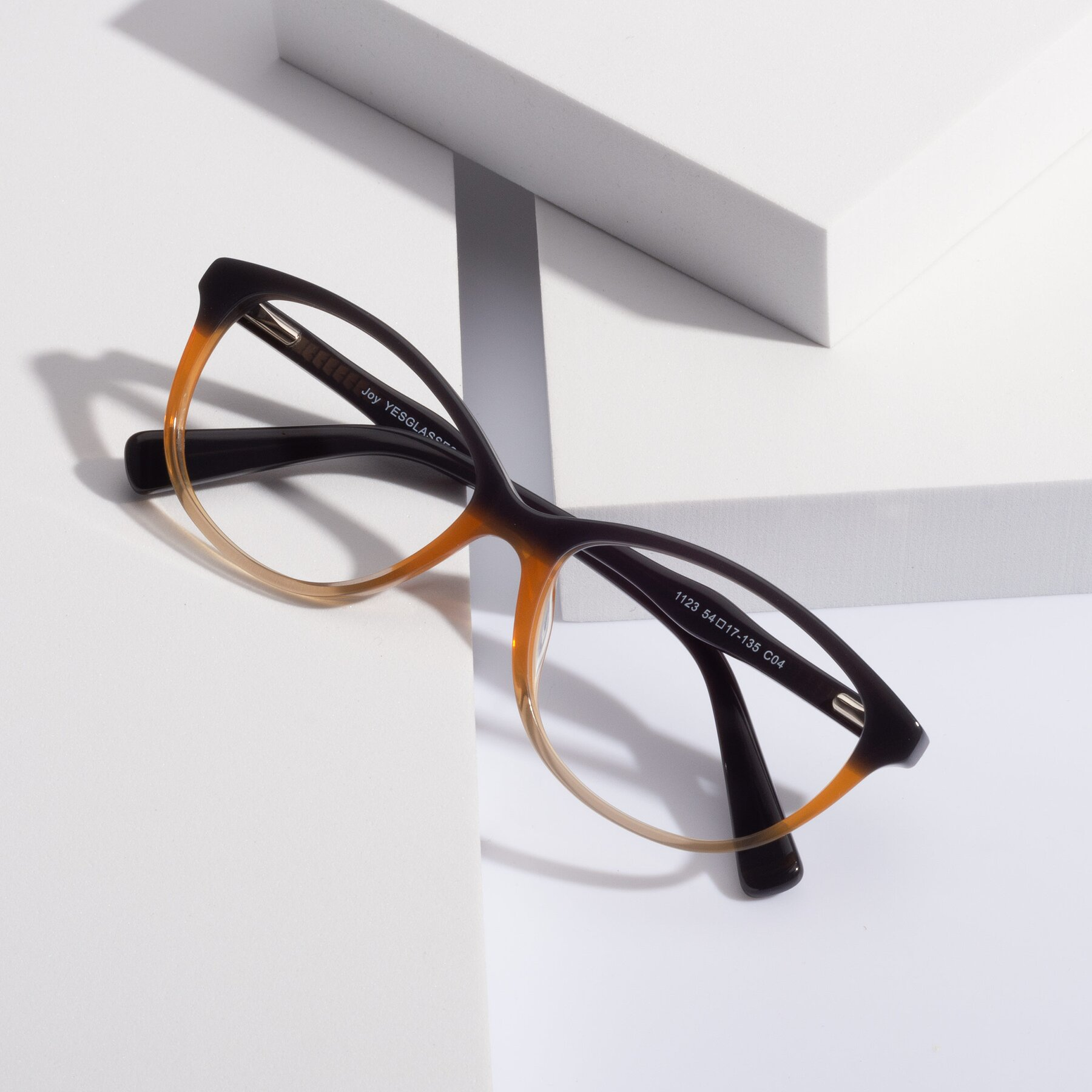 Women's lifestyle photography #1 of Joy in Floral Gray-Brown with Clear Blue Light Blocking Lenses