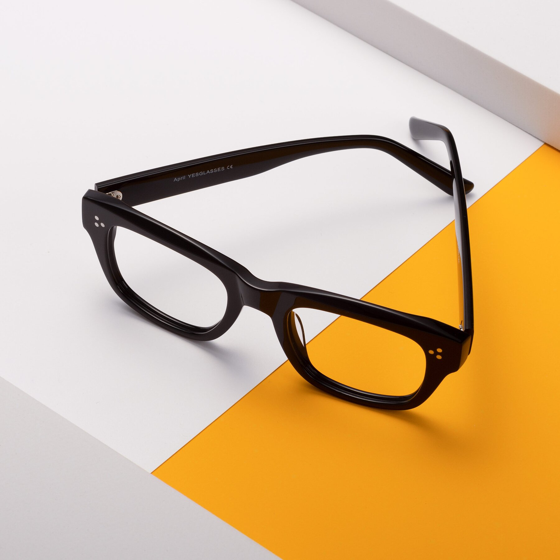 Lifestyle photography #2 of April in Black with Clear Eyeglass Lenses