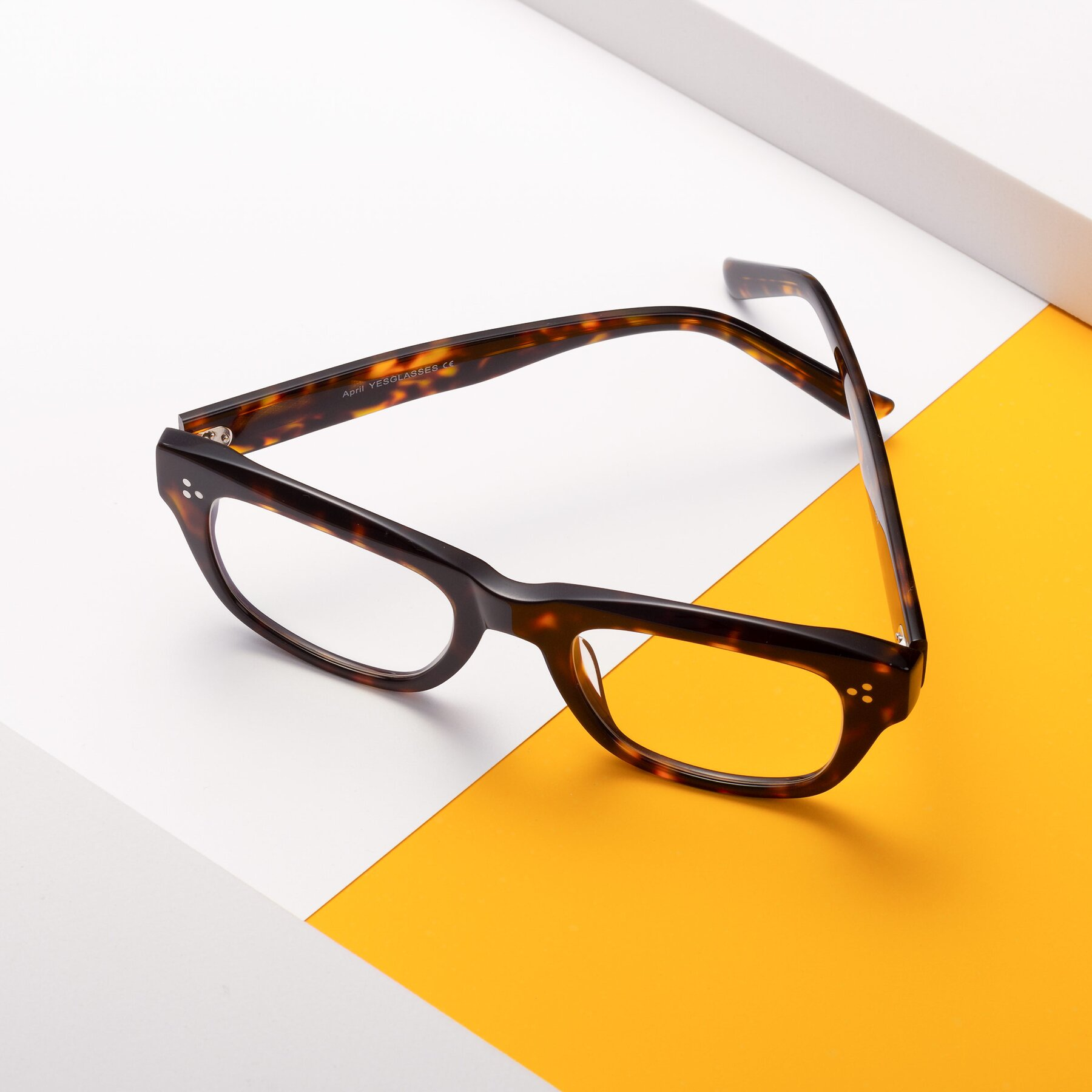 Lifestyle photography #2 of April in Tortoise with Clear Eyeglass Lenses