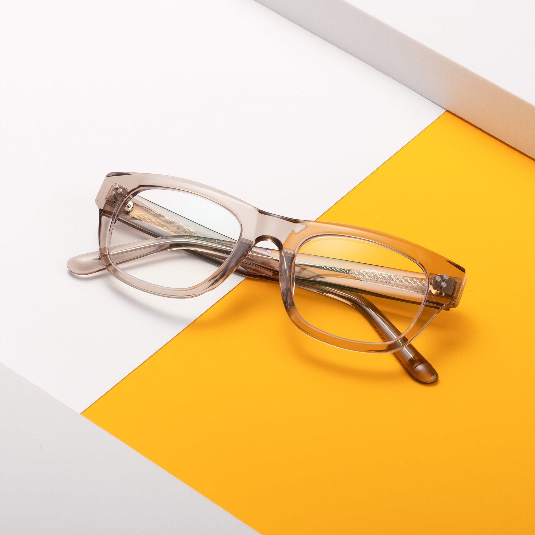 Lifestyle photography #1 of April in Amber with Clear Blue Light Blocking Lenses