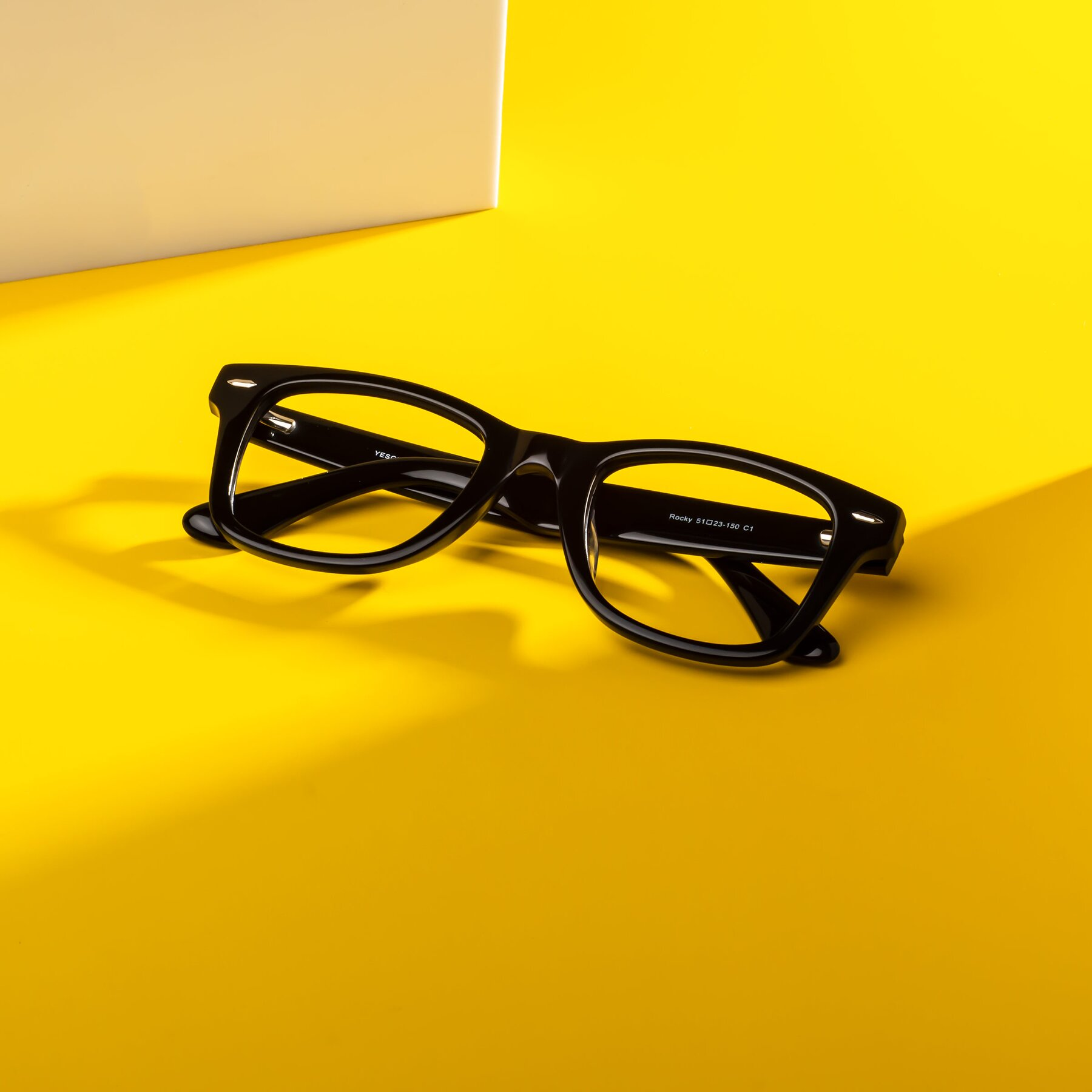 Lifestyle photography #1 of Rocky in Black with Clear Blue Light Blocking Lenses