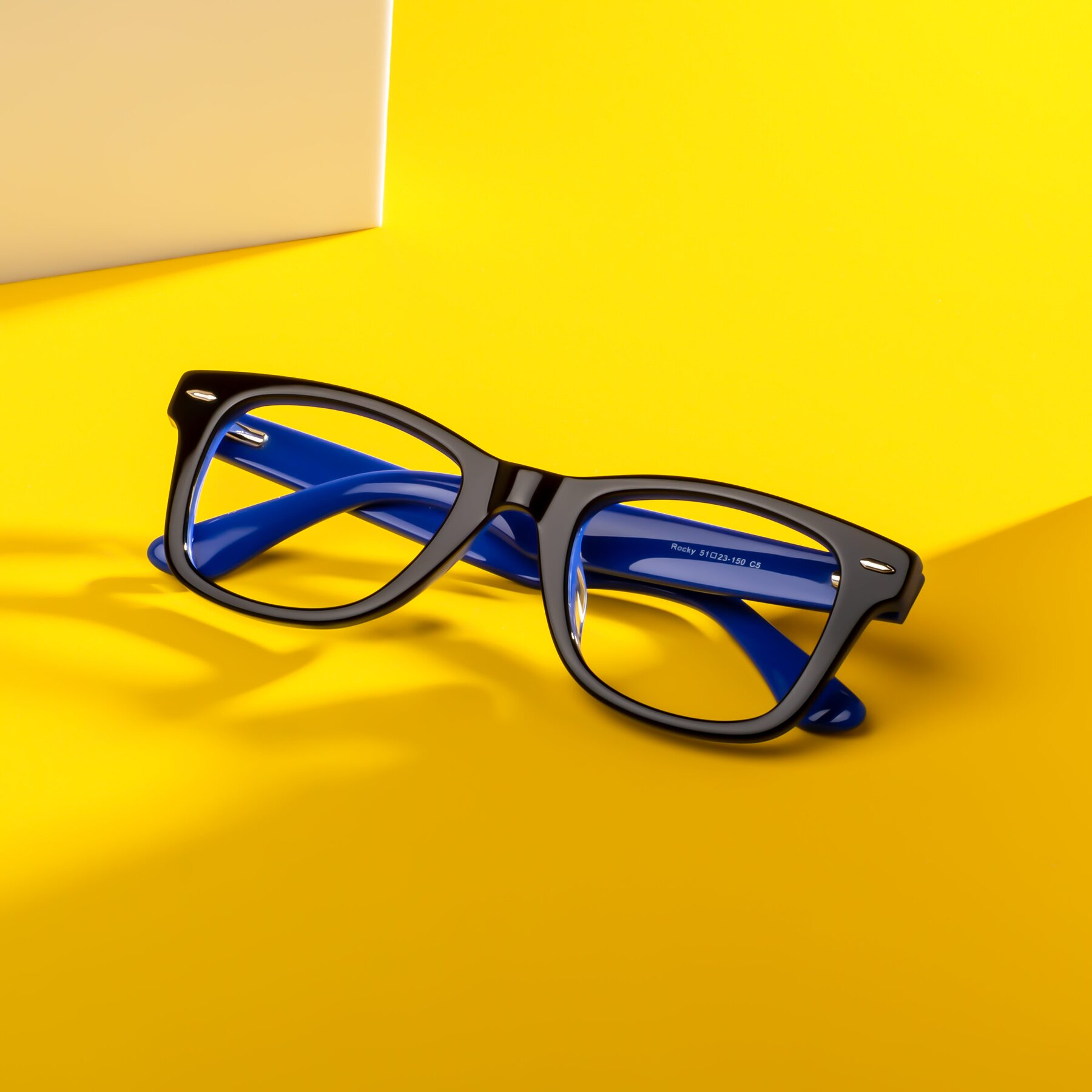 Lifestyle photography #1 of Rocky in Black-Blue with Clear Blue Light Blocking Lenses