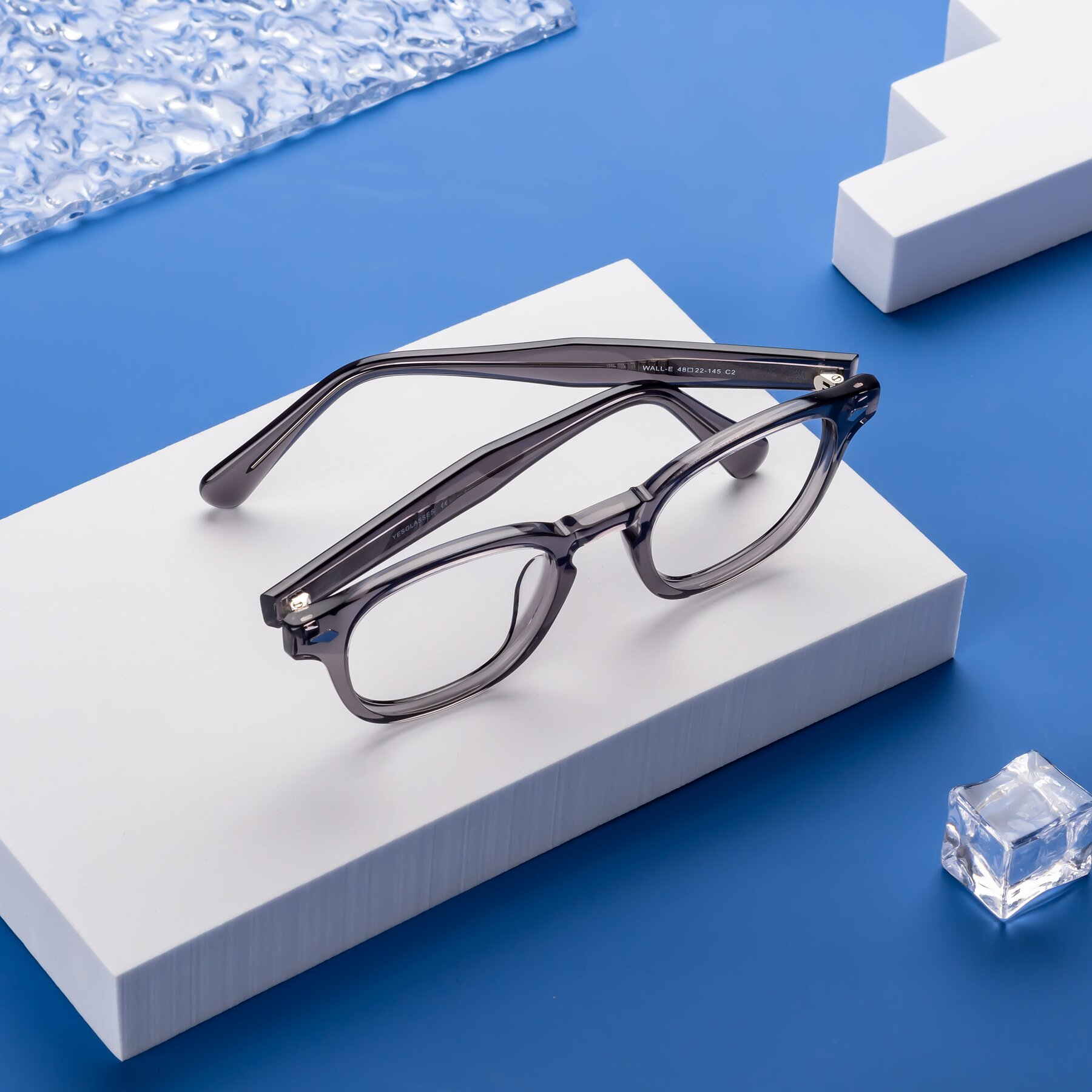 Lifestyle photography #1 of WALL-E in Translucent Gray with Clear Eyeglass Lenses