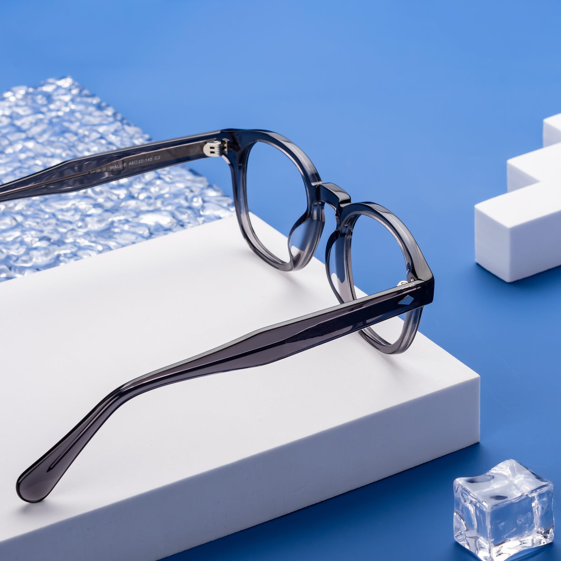 Lifestyle photography #2 of WALL-E in Translucent Gray with Clear Eyeglass Lenses