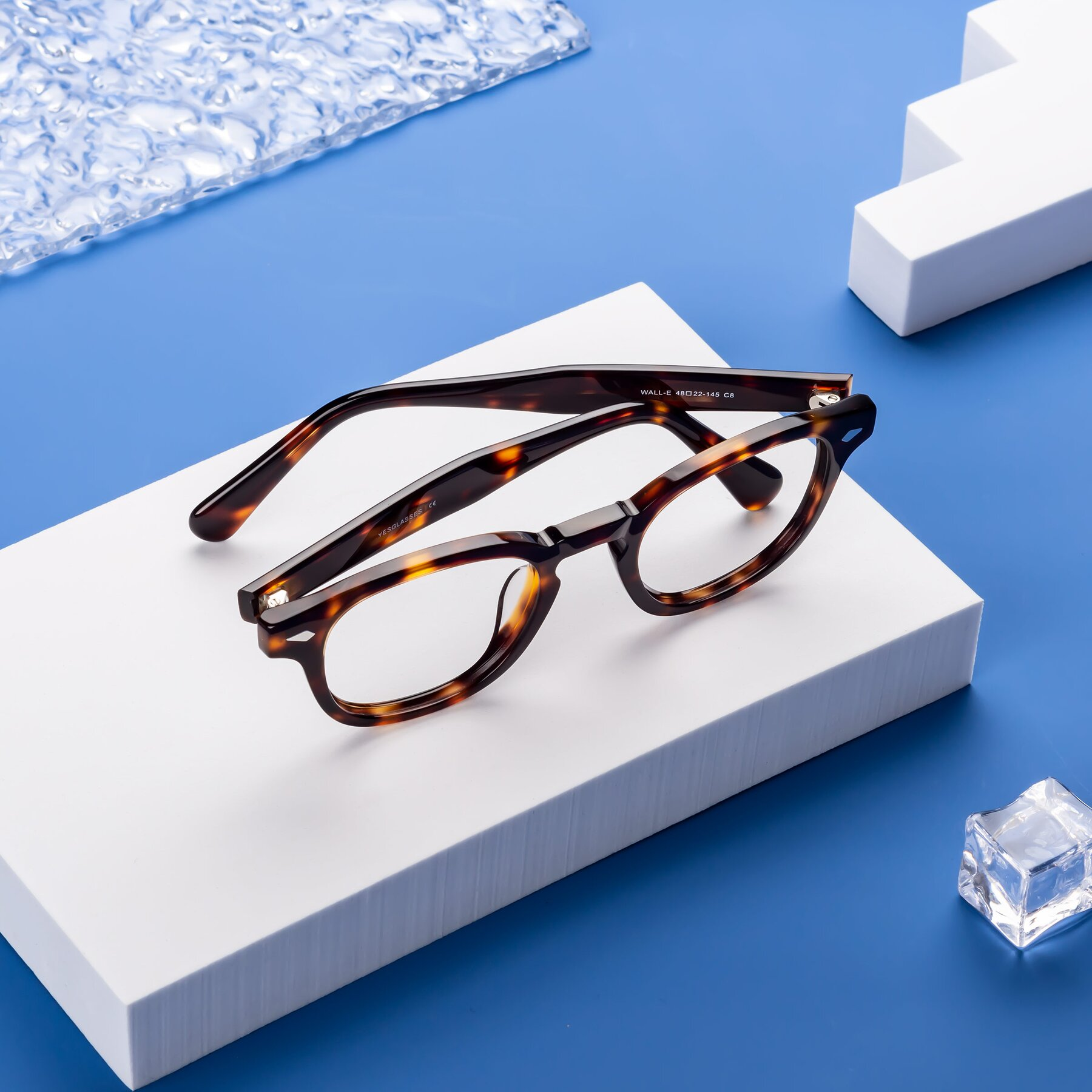 Lifestyle photography #1 of WALL-E in Tortoise with Clear Blue Light Blocking Lenses