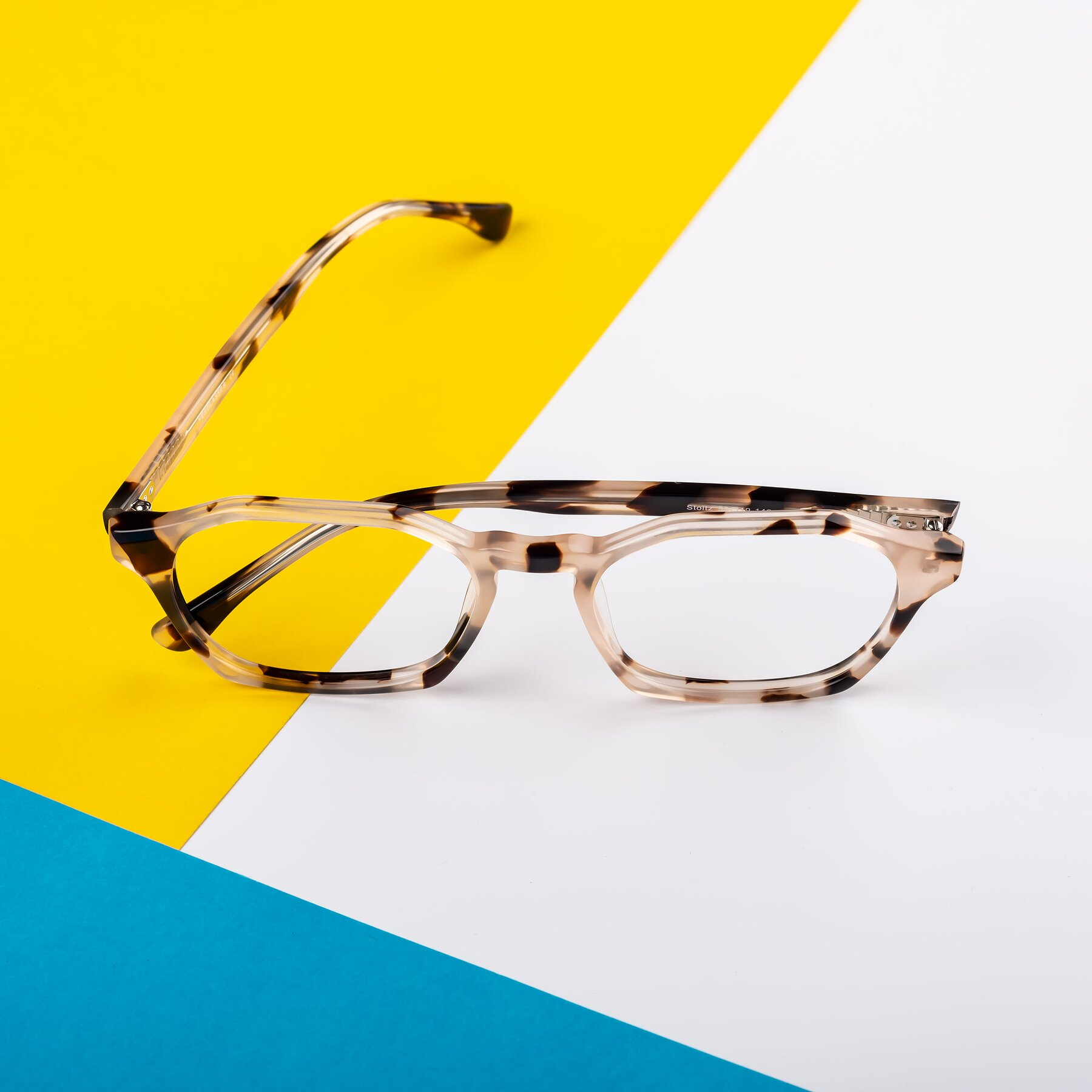Lifestyle photography #1 of Stoltz in Leopard-Print with Clear Blue Light Blocking Lenses
