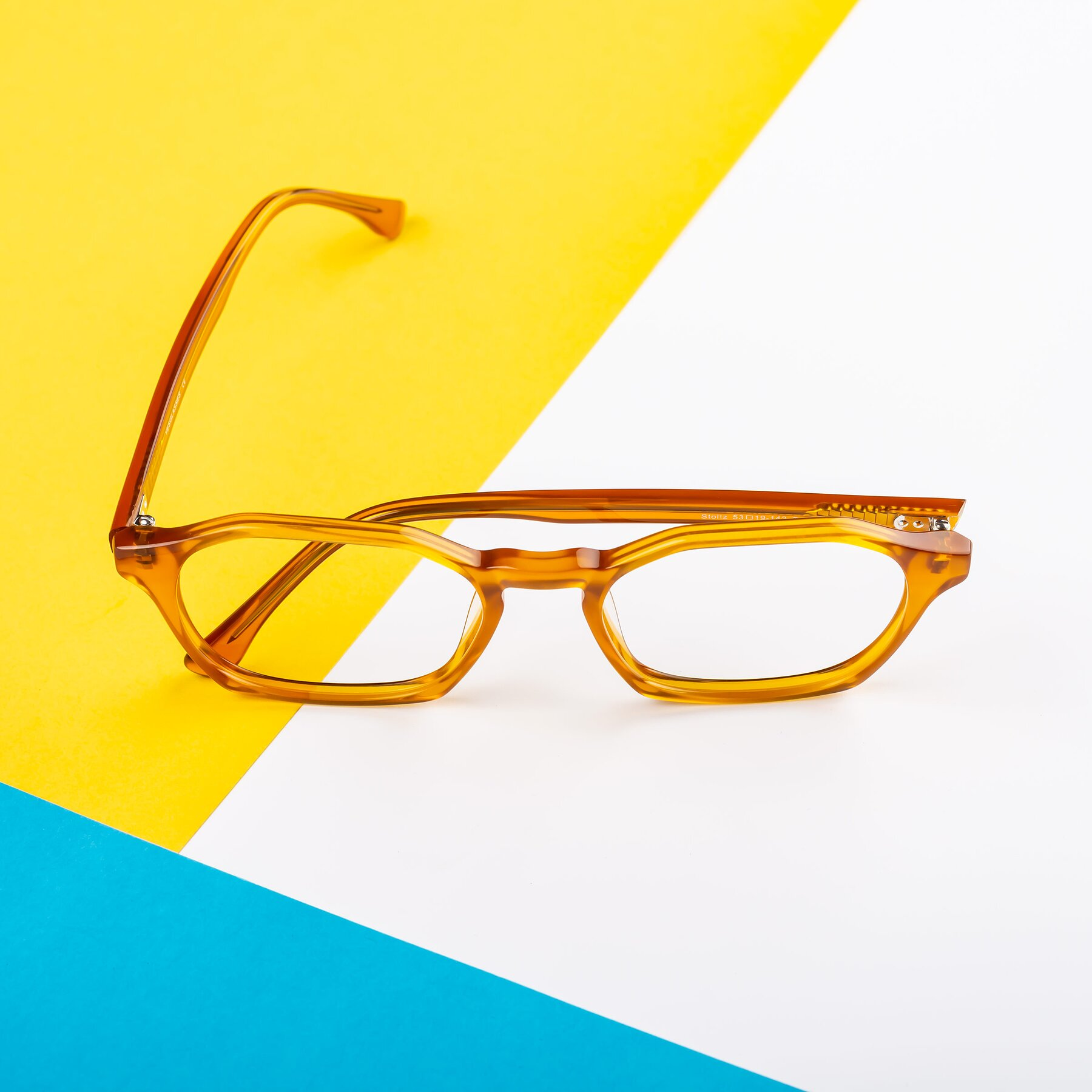 Lifestyle photography #1 of Stoltz in Brown with Clear Blue Light Blocking Lenses