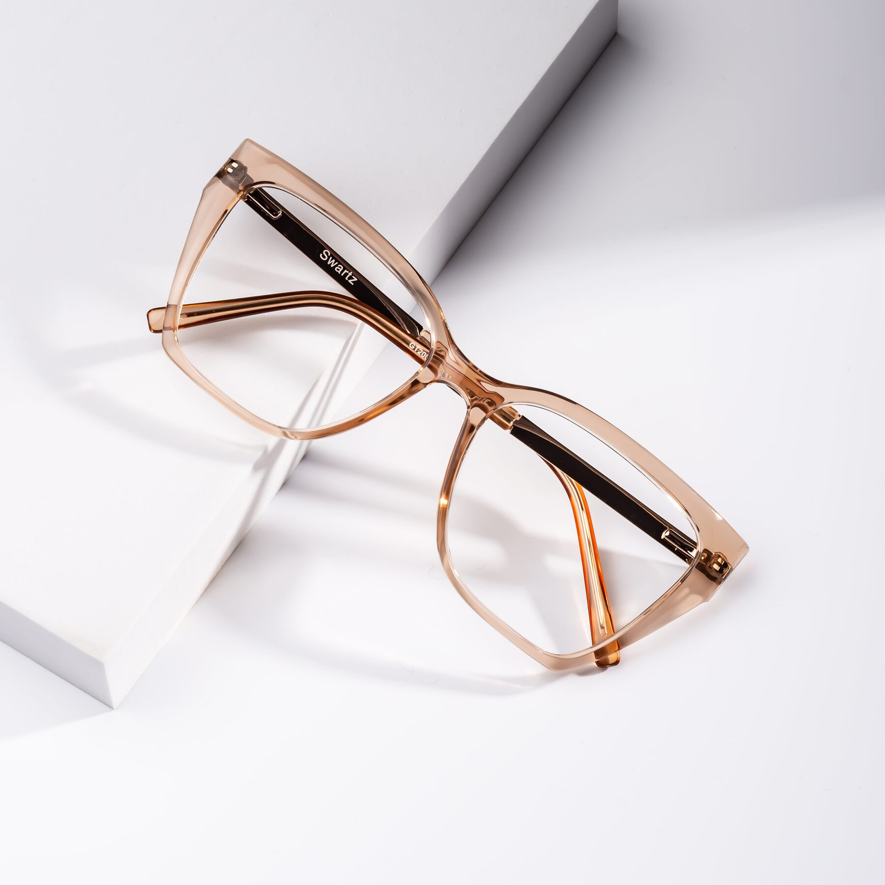 Women's lifestyle photography #1 of Swartz in Amber with Clear Blue Light Blocking Lenses
