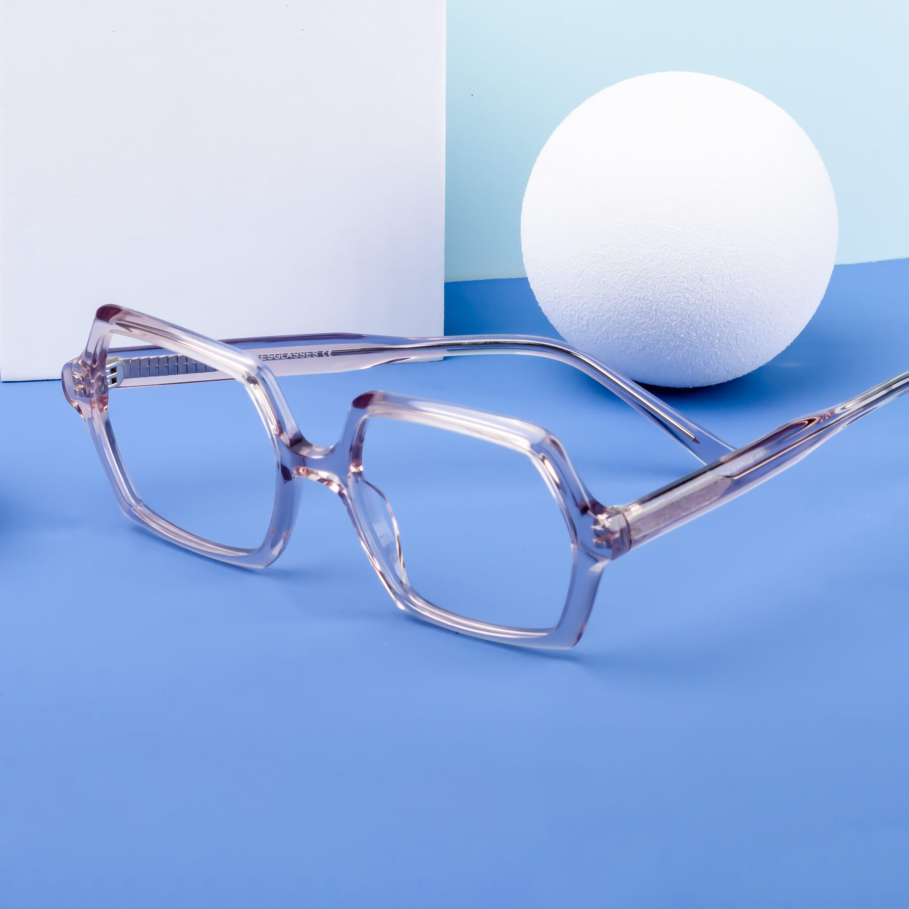 Lifestyle photography #1 of Melanie in Transparent Pink with Clear Blue Light Blocking Lenses