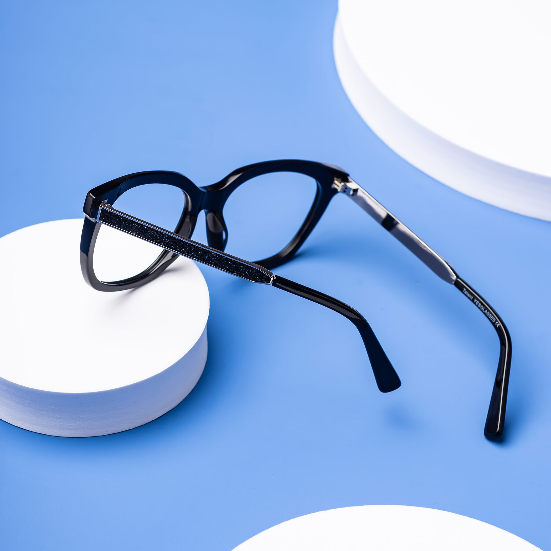 Lifestyle photography #2 of Talent in Black with Clear Blue Light Blocking Lenses