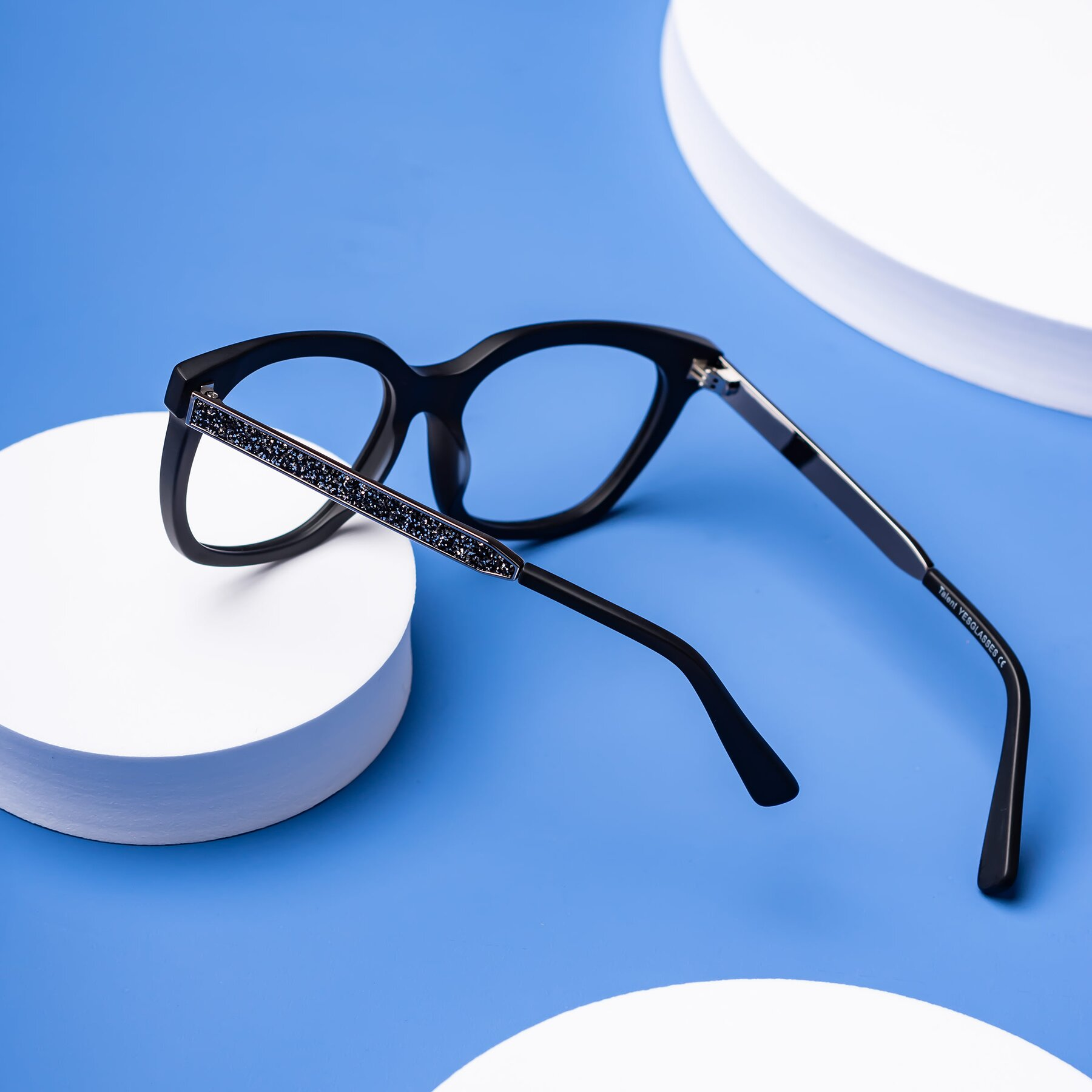 Lifestyle photography #2 of Talent in Matte Black with Clear Blue Light Blocking Lenses