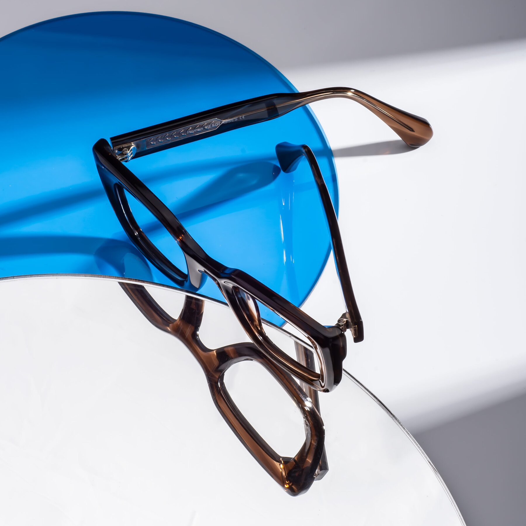 Lifestyle photography #2 of Homan in Chocolate with Clear Blue Light Blocking Lenses