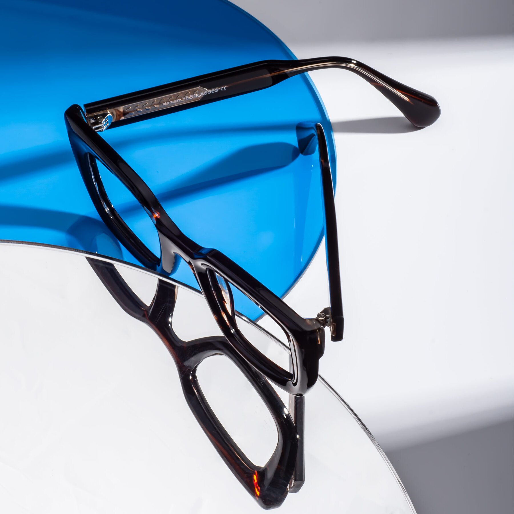 Lifestyle photography #2 of Homan in Dark Brown with Clear Blue Light Blocking Lenses
