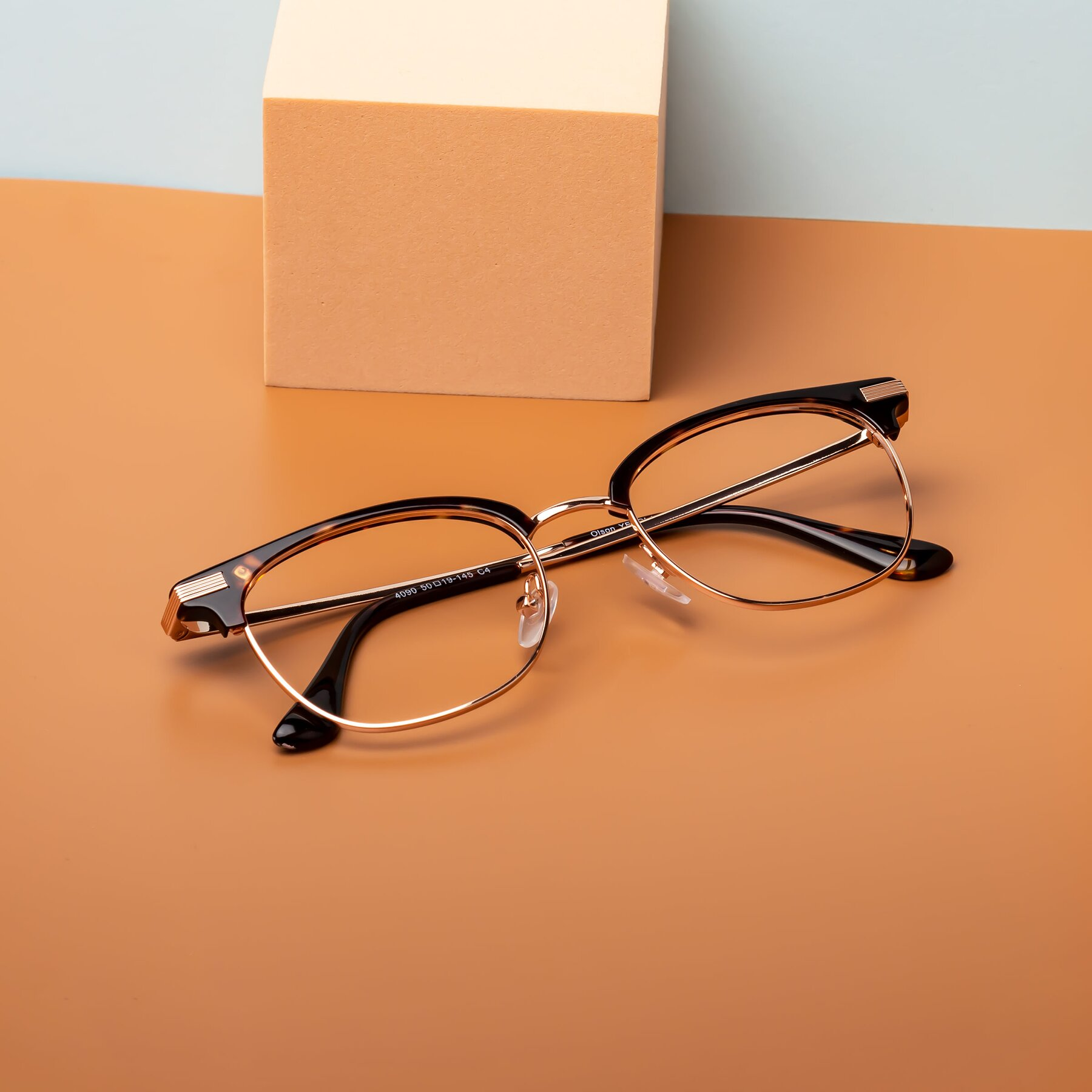 Lifestyle photography #2 of Olson in Black-Rose Gold with Clear Eyeglass Lenses
