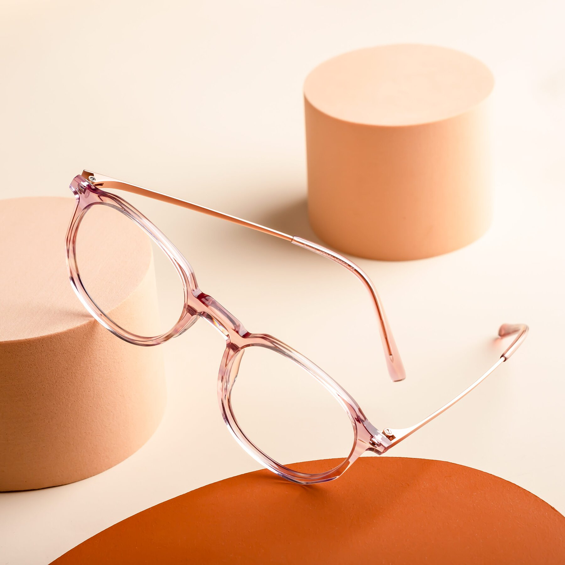 Lifestyle photography #1 of Ammie in Transparent Pink with Clear Blue Light Blocking Lenses