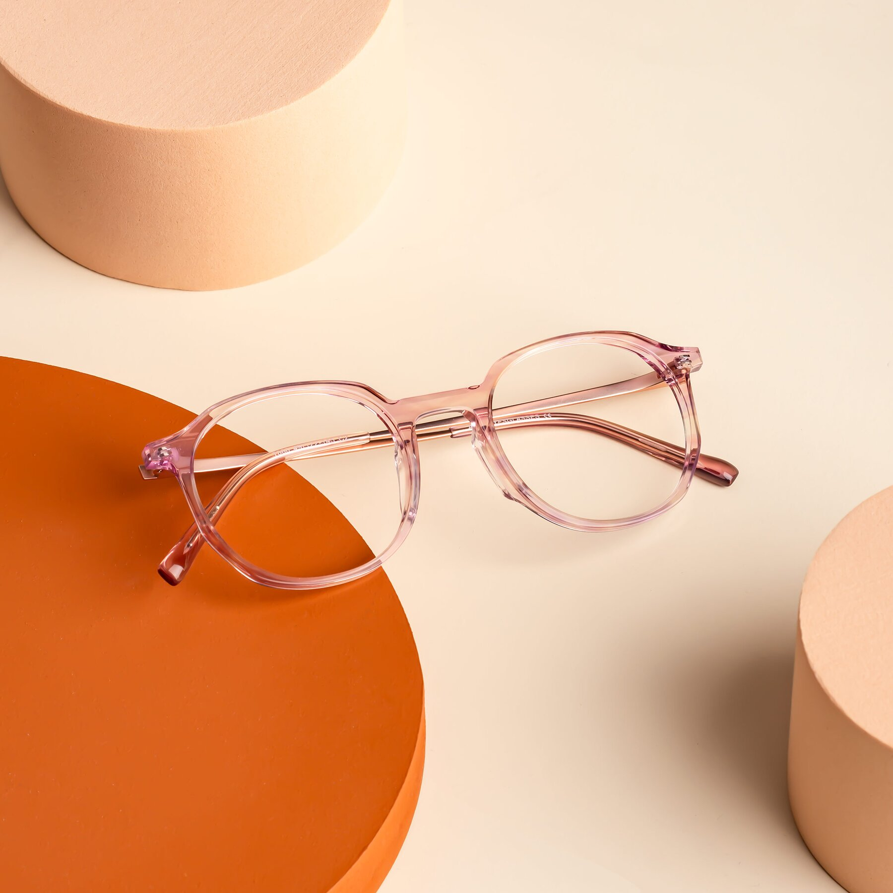 Lifestyle photography #2 of Ammie in Transparent Pink with Clear Blue Light Blocking Lenses