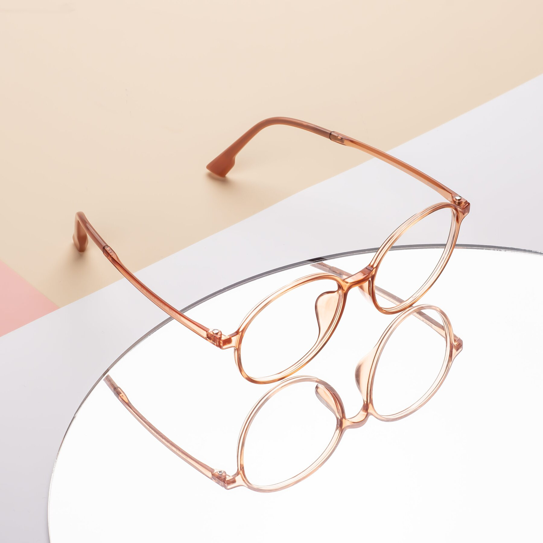 Lifestyle photography #2 of Howard in Coral with Clear Eyeglass Lenses