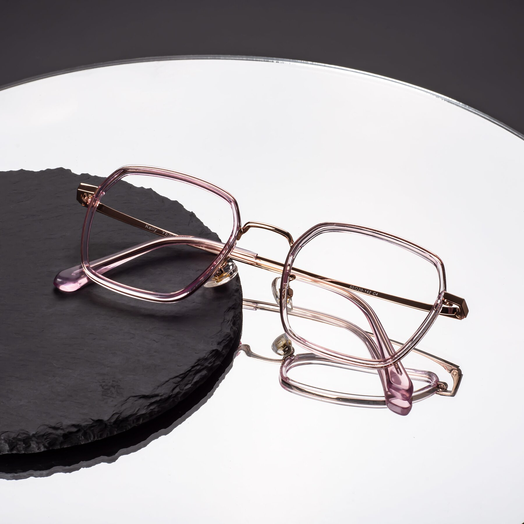 Lifestyle photography #1 of Kelly in Pink-Rose Gold with Clear Eyeglass Lenses