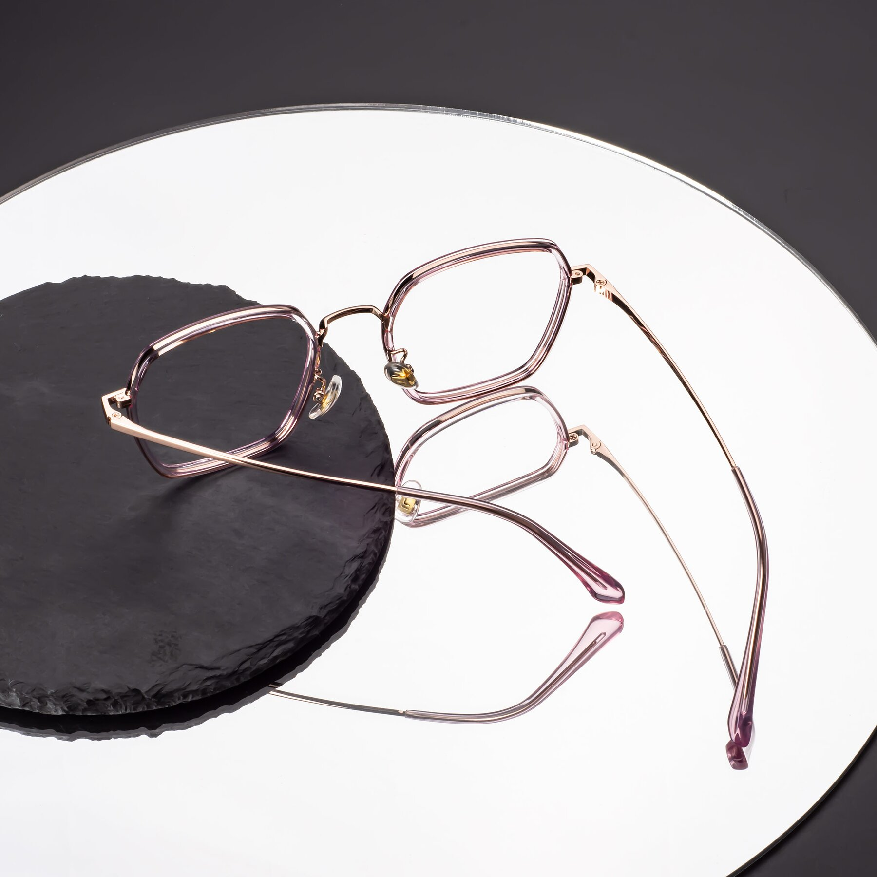 Lifestyle photography #2 of Kelly in Pink-Rose Gold with Clear Eyeglass Lenses
