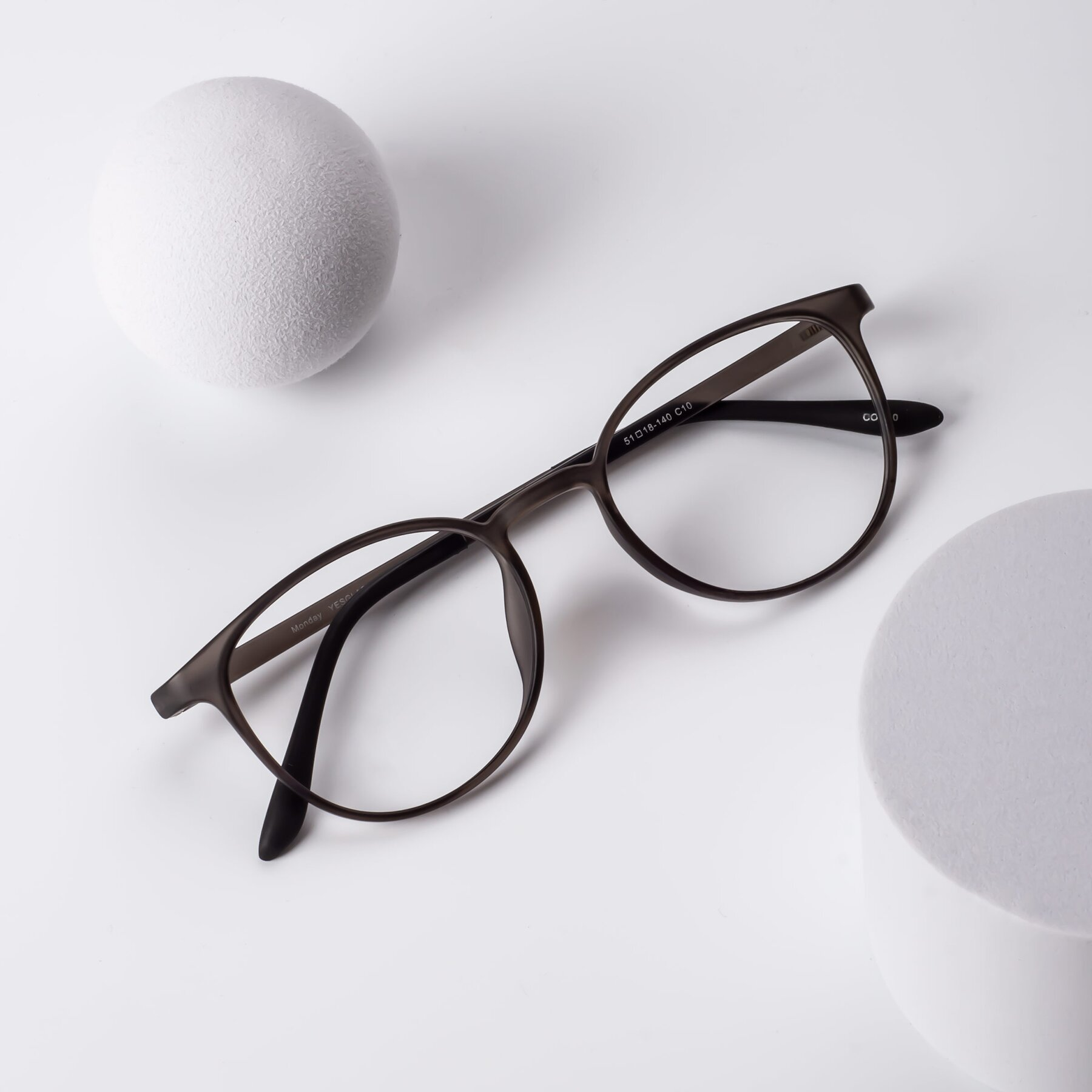 Lifestyle photography #1 of Monday in Translucent Gray with Clear Blue Light Blocking Lenses