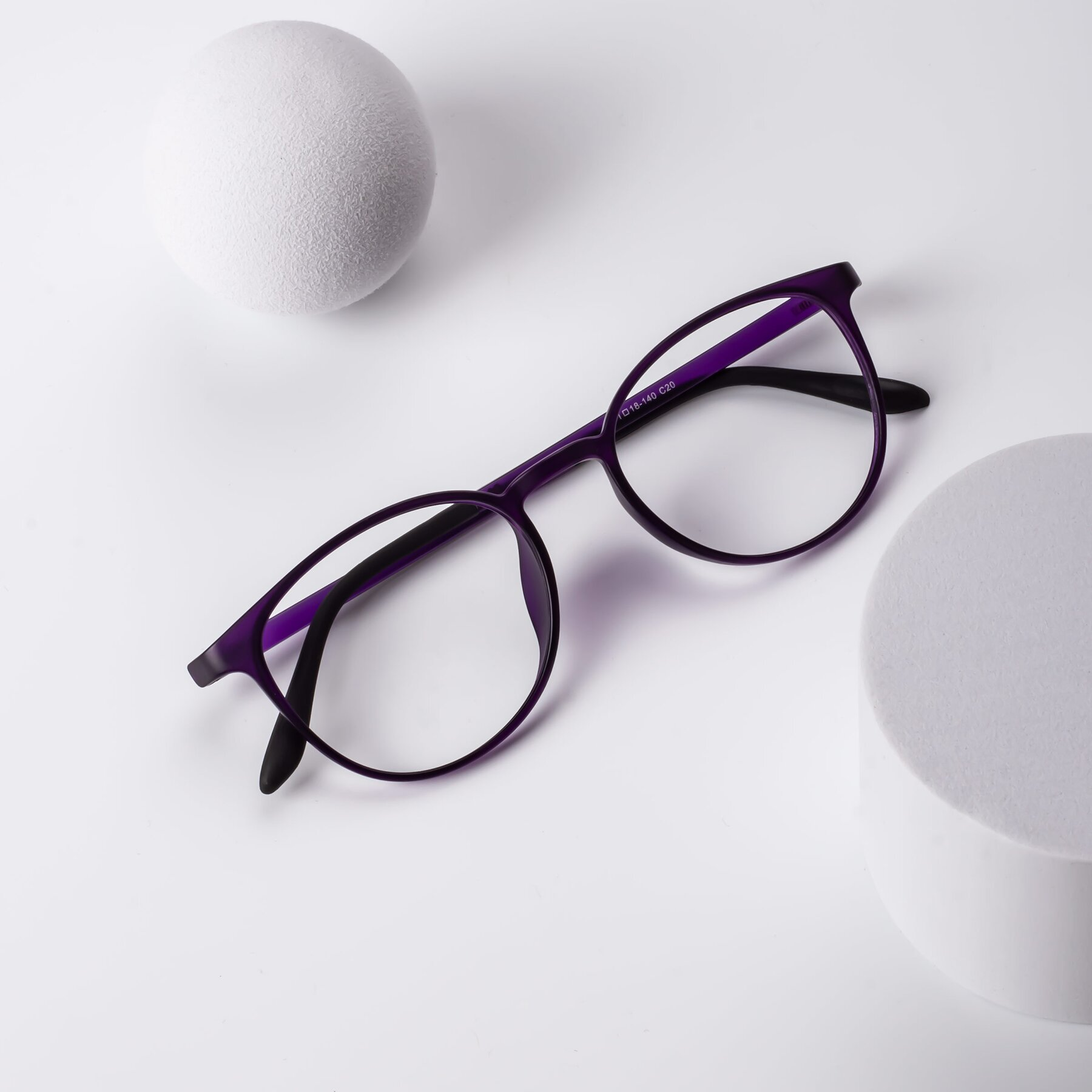 Lifestyle photography #1 of Monday in Translucent Purple with Clear Eyeglass Lenses