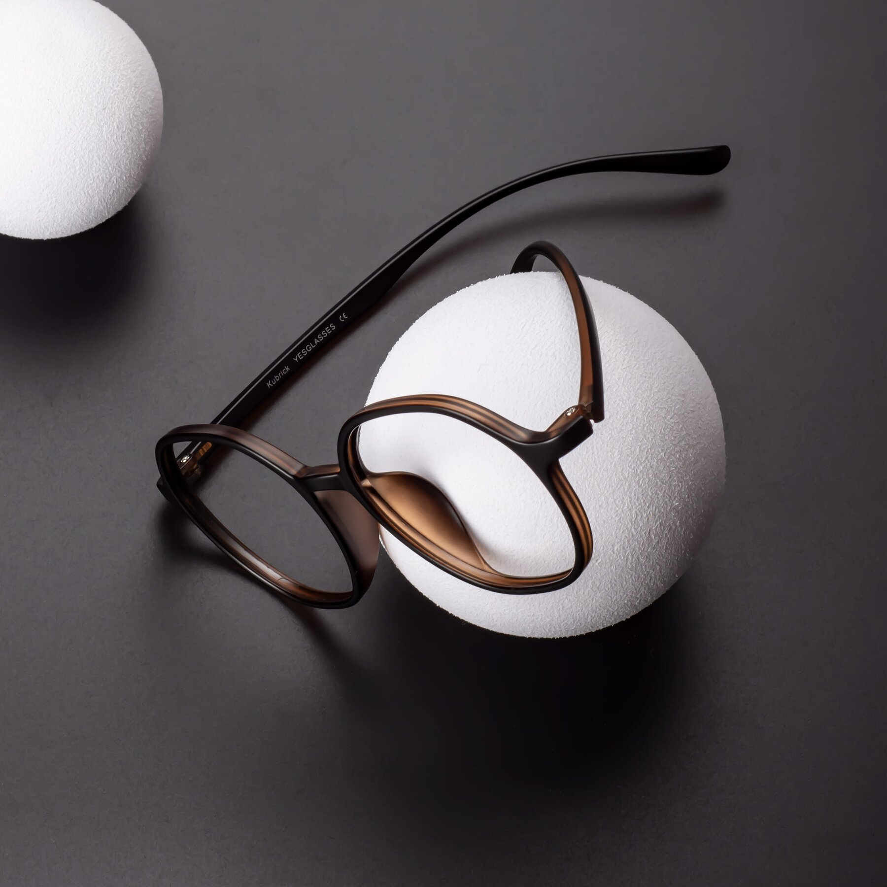 Lifestyle photography #1 of Kubrick in Black-Coffee with Clear Eyeglass Lenses