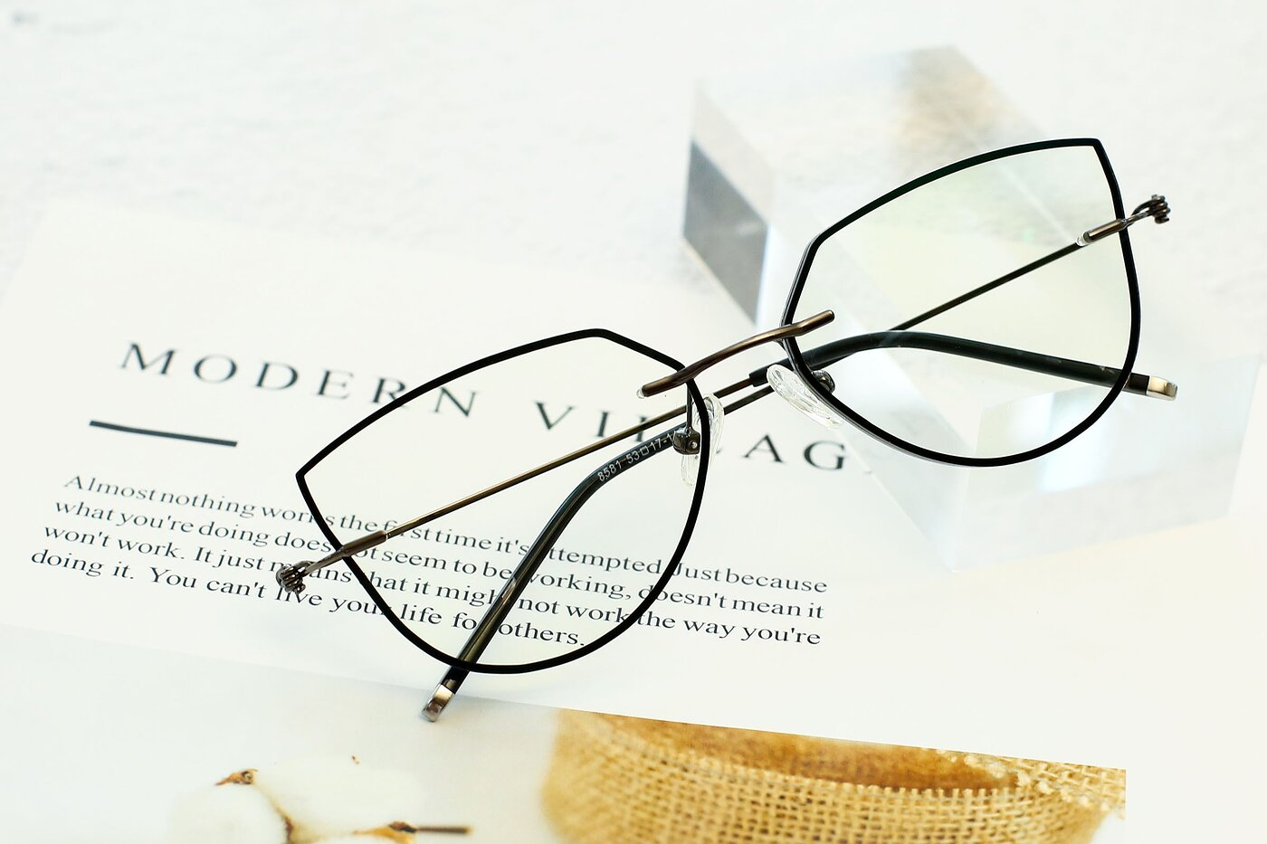 Black-Gun Hipster Irregular Color-Edged Rimless Eyeglasses