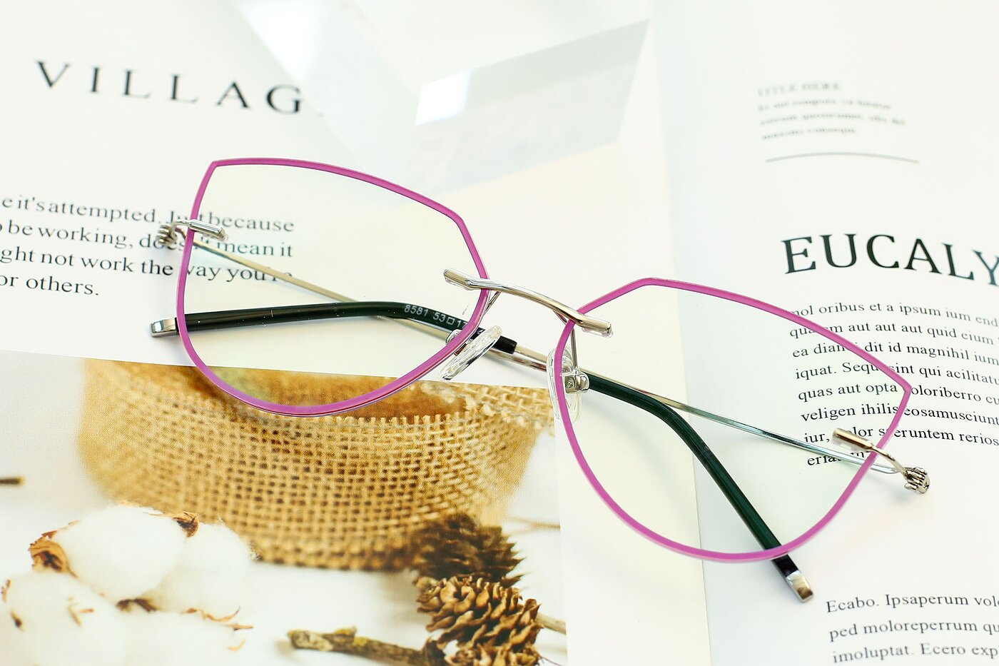 Pink-Silver Hipster Irregular Color-Edged Rimless Eyeglasses